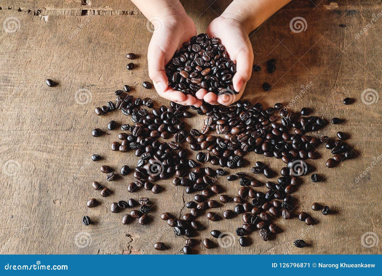 Kaffeebohnen in der Hand