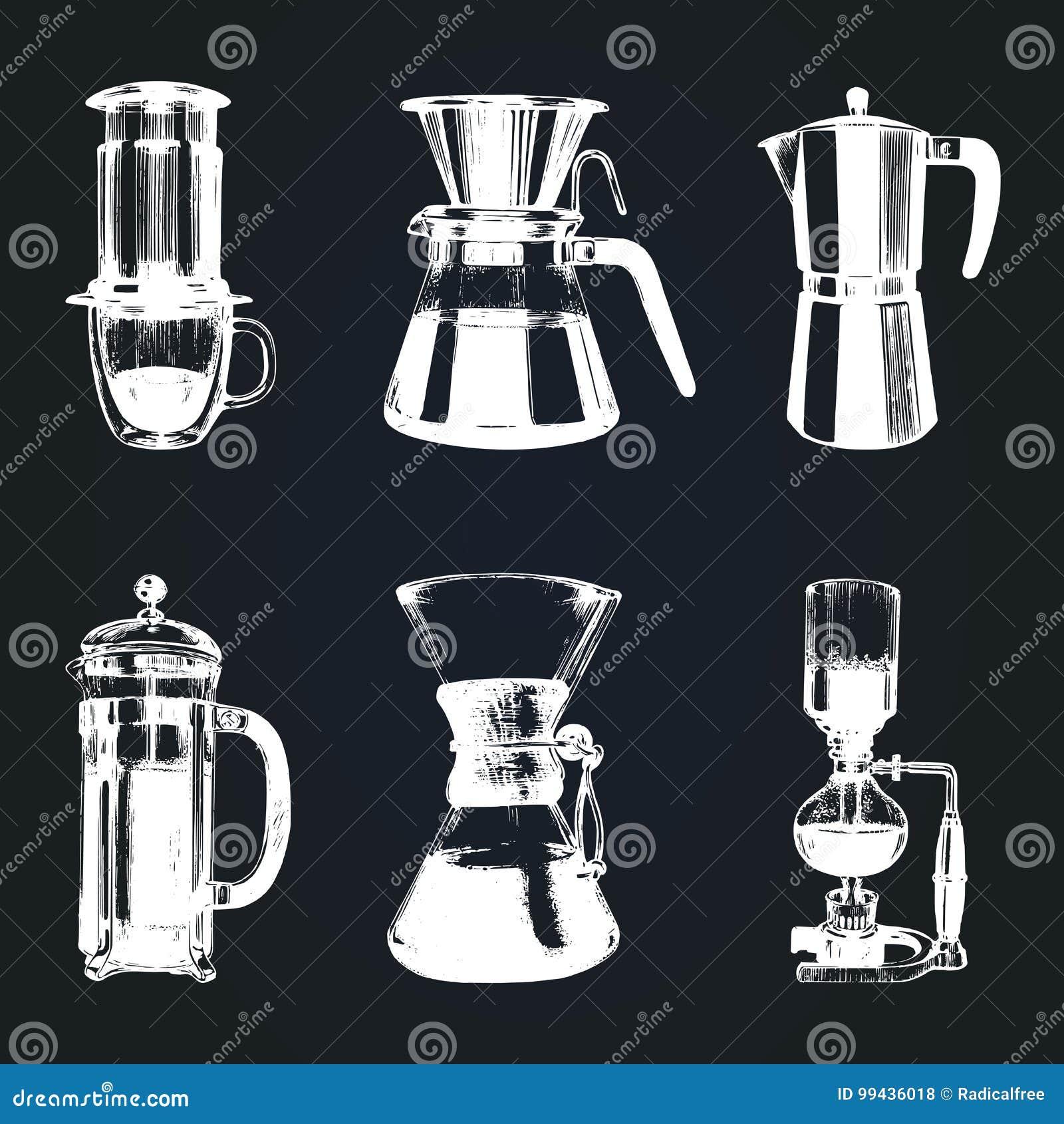 Kaffeebrauenillustrationen des Vektors alternative eingestellt Hand skizzierte verschiedene Kaffeemaschinen Café, Restaurantmenüd