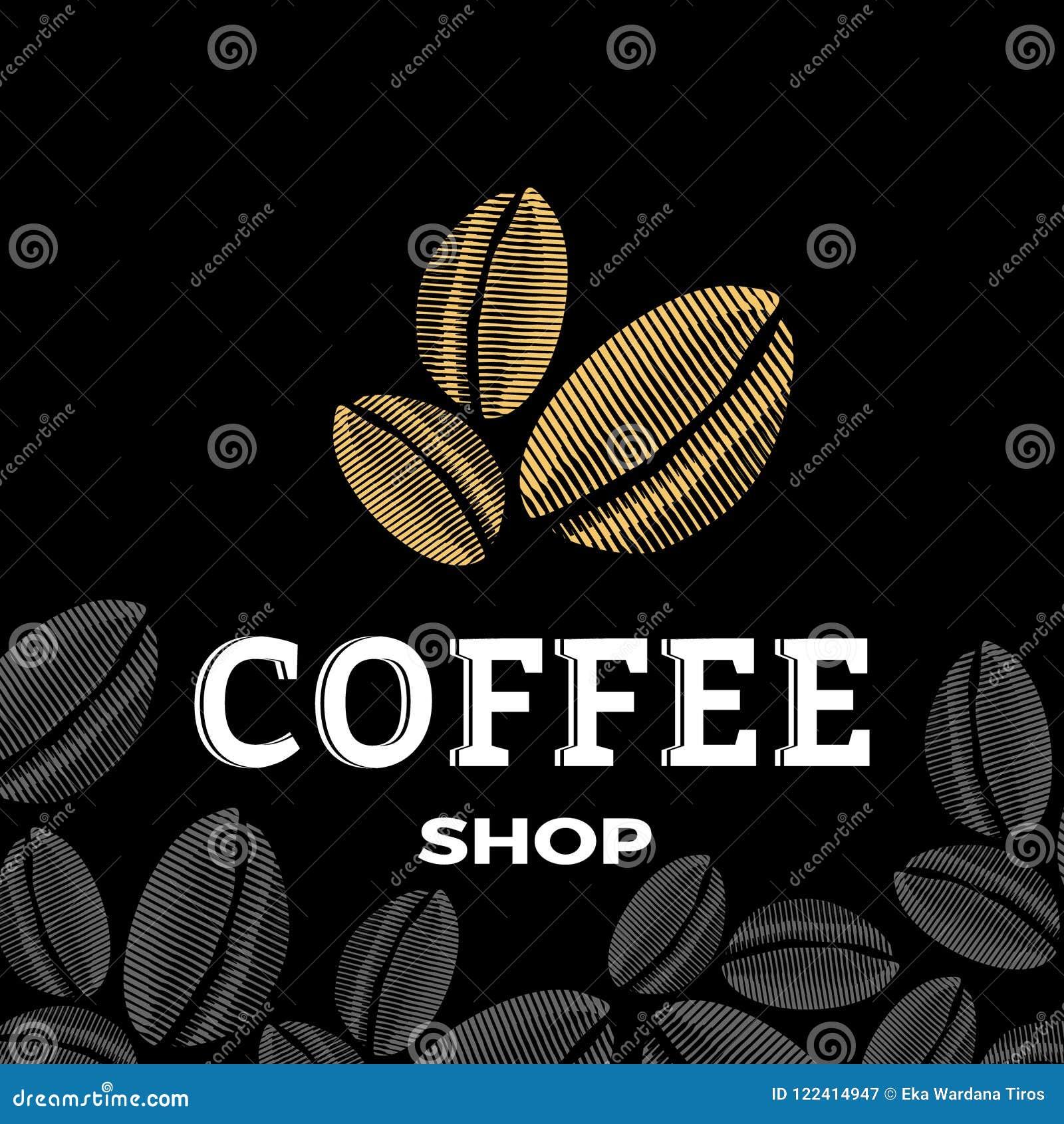 Kaffeestubelogo mit drei Bohnen