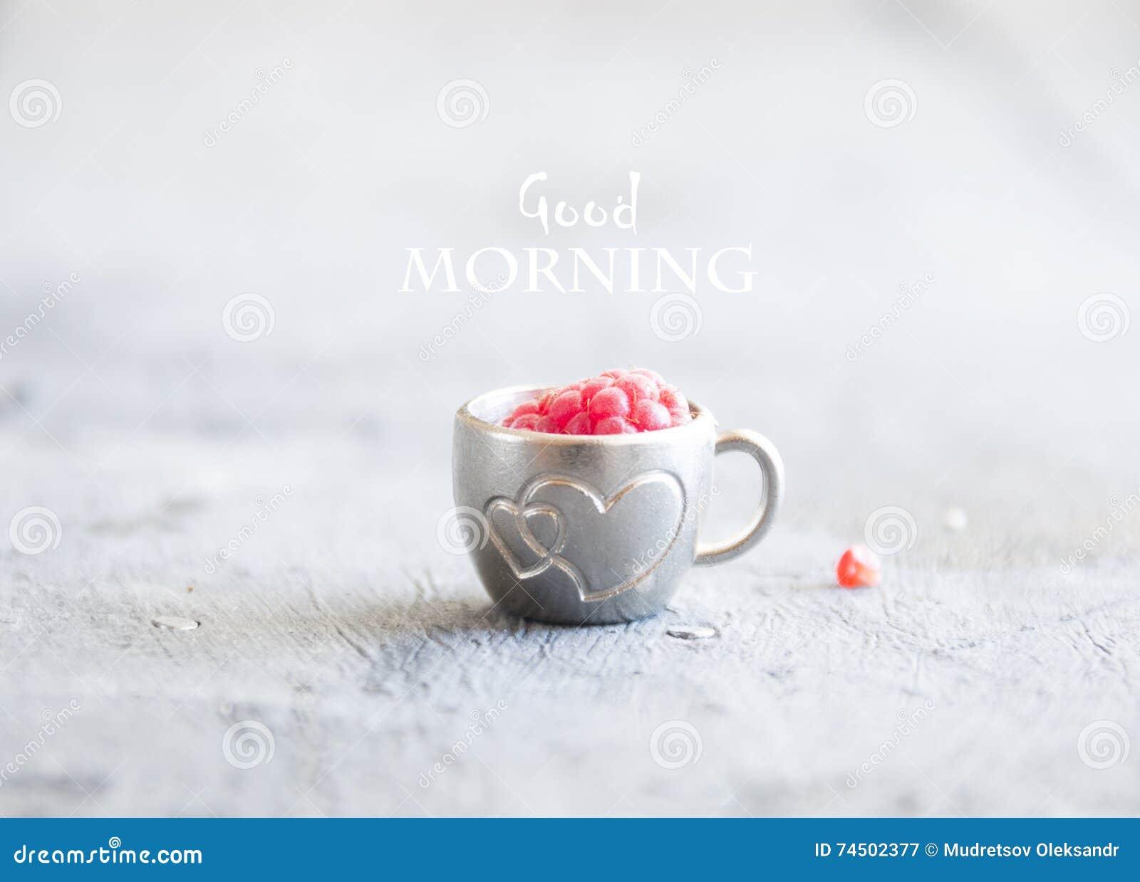Kaffeetasse Mit Himbeeren Und Anmerkungen Guter Morgen