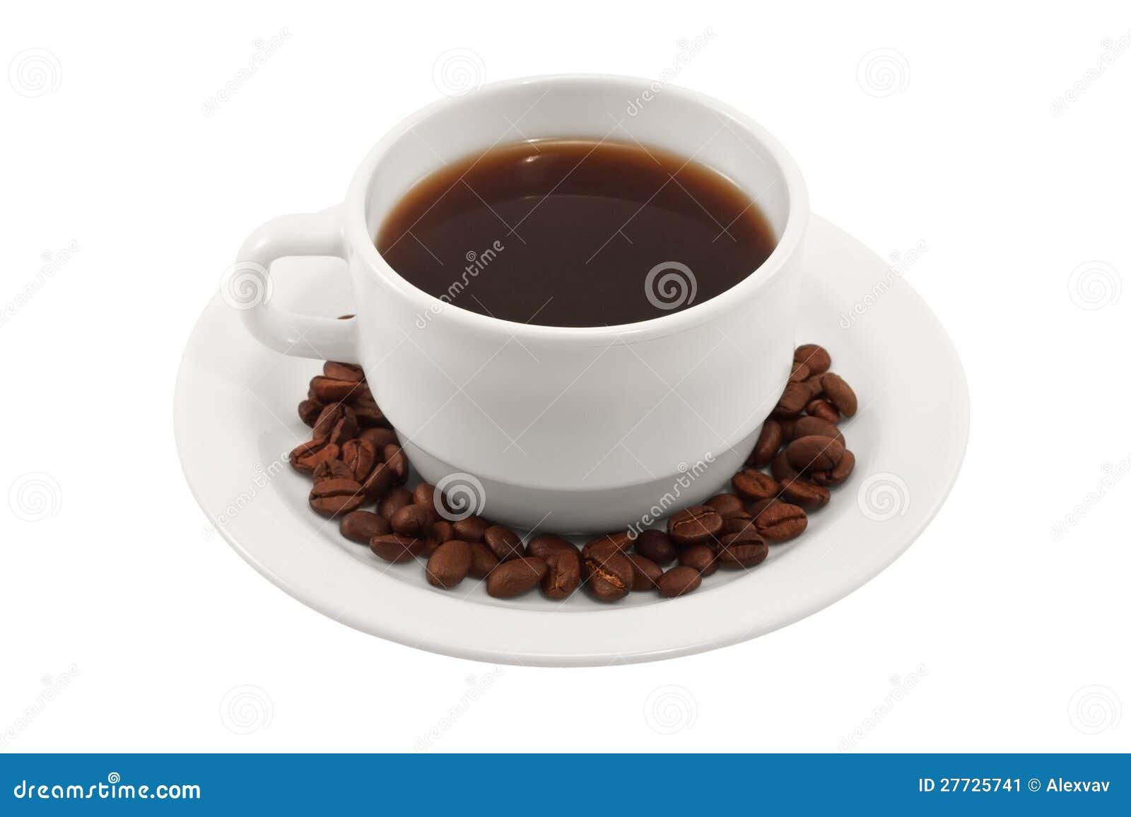 Kaffeetasse und Saucer auf einem weißen Hintergrund