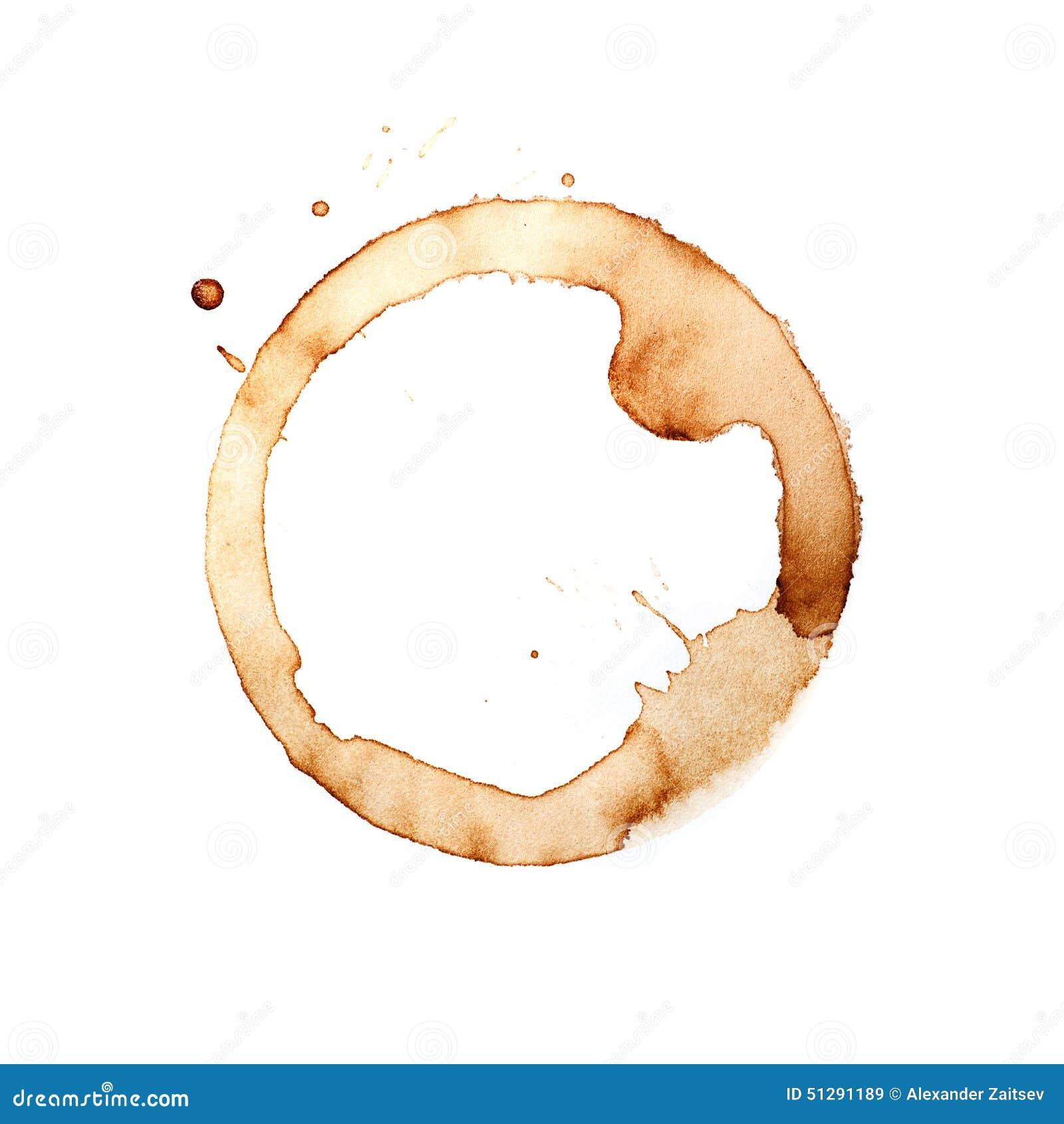 Kaffeetasseringe auf einem weißen Hintergrund