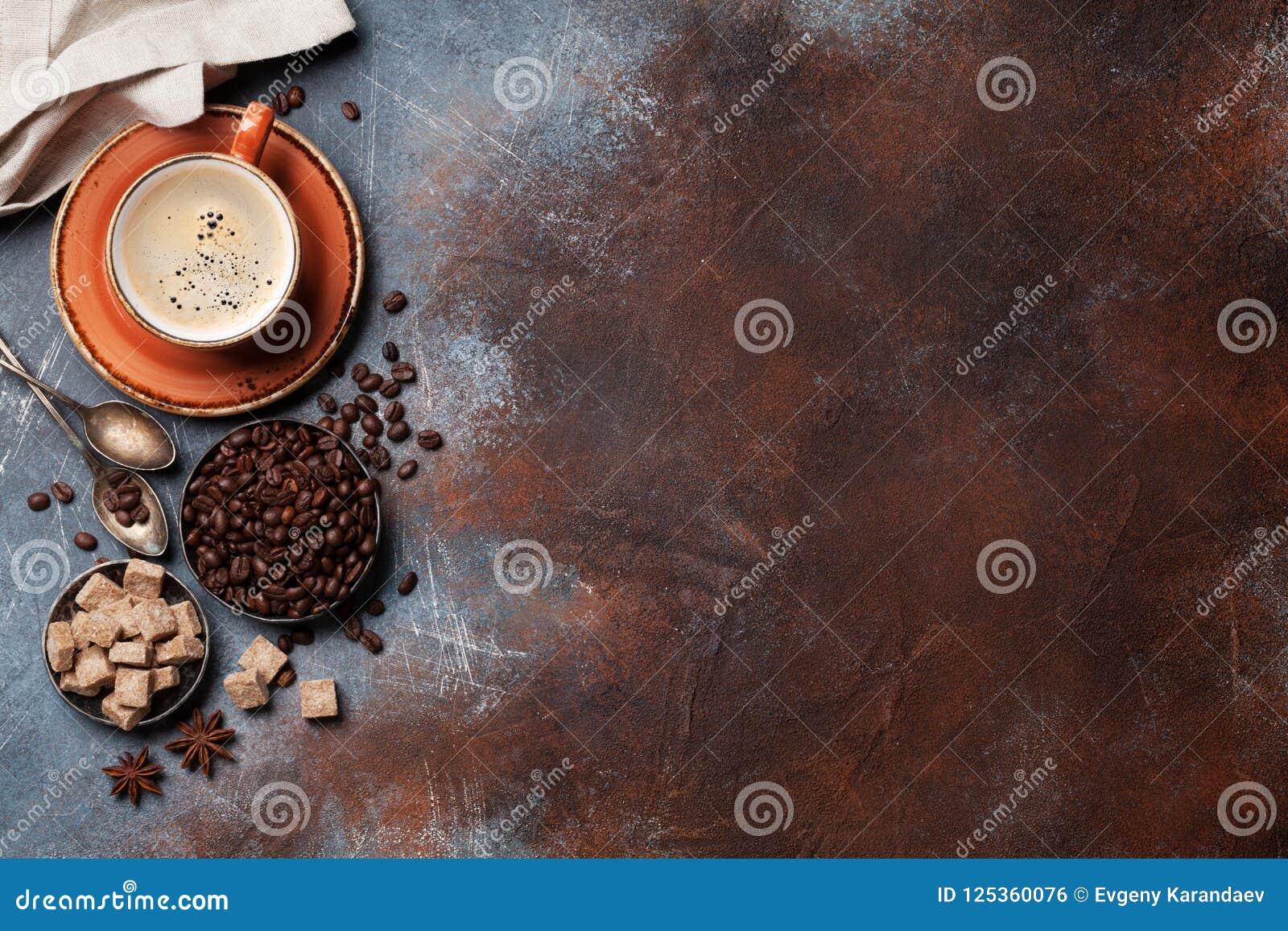 Kaffekopp, bönor och socker