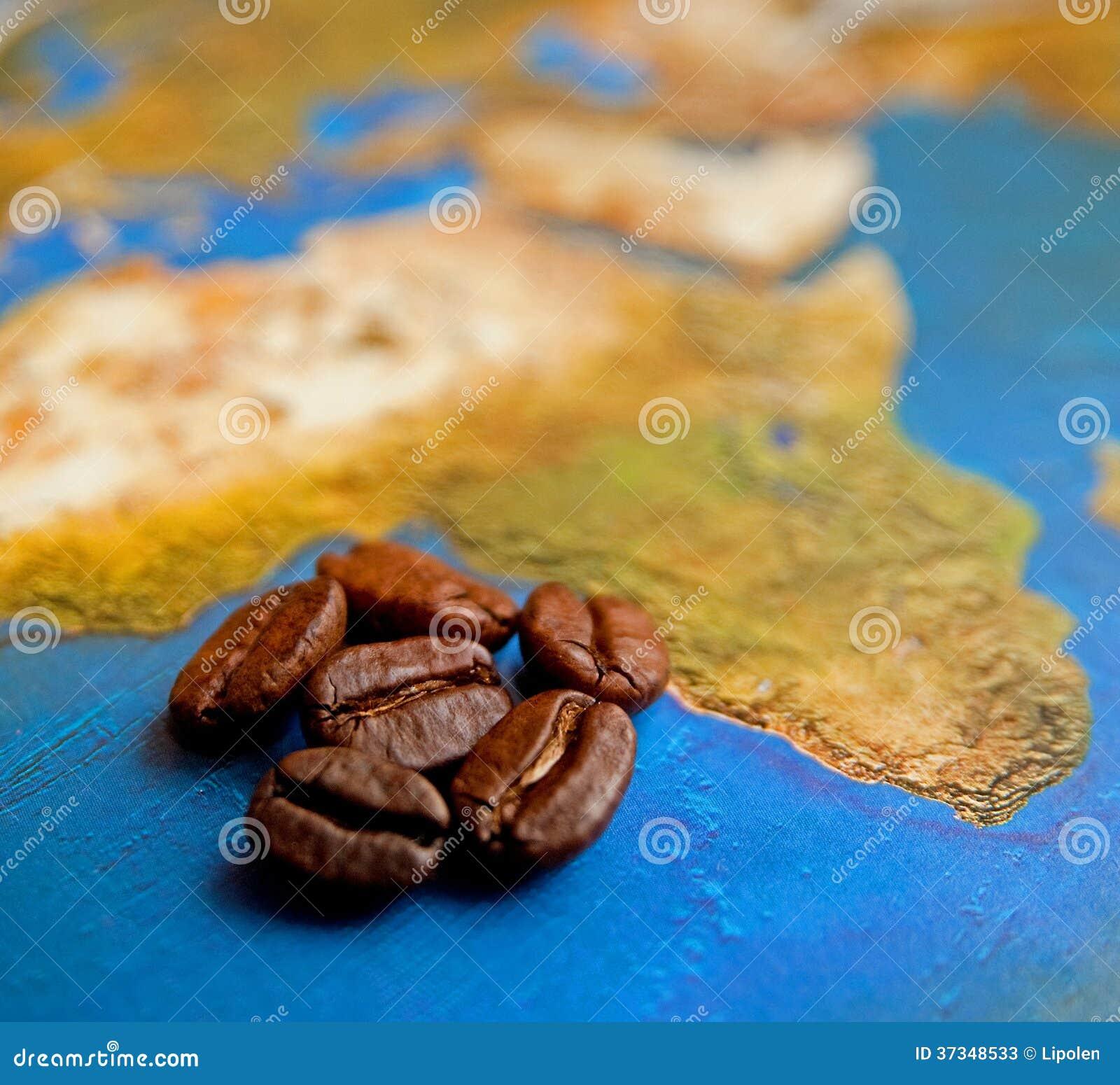 Kaffekorn på den Afrika översikten