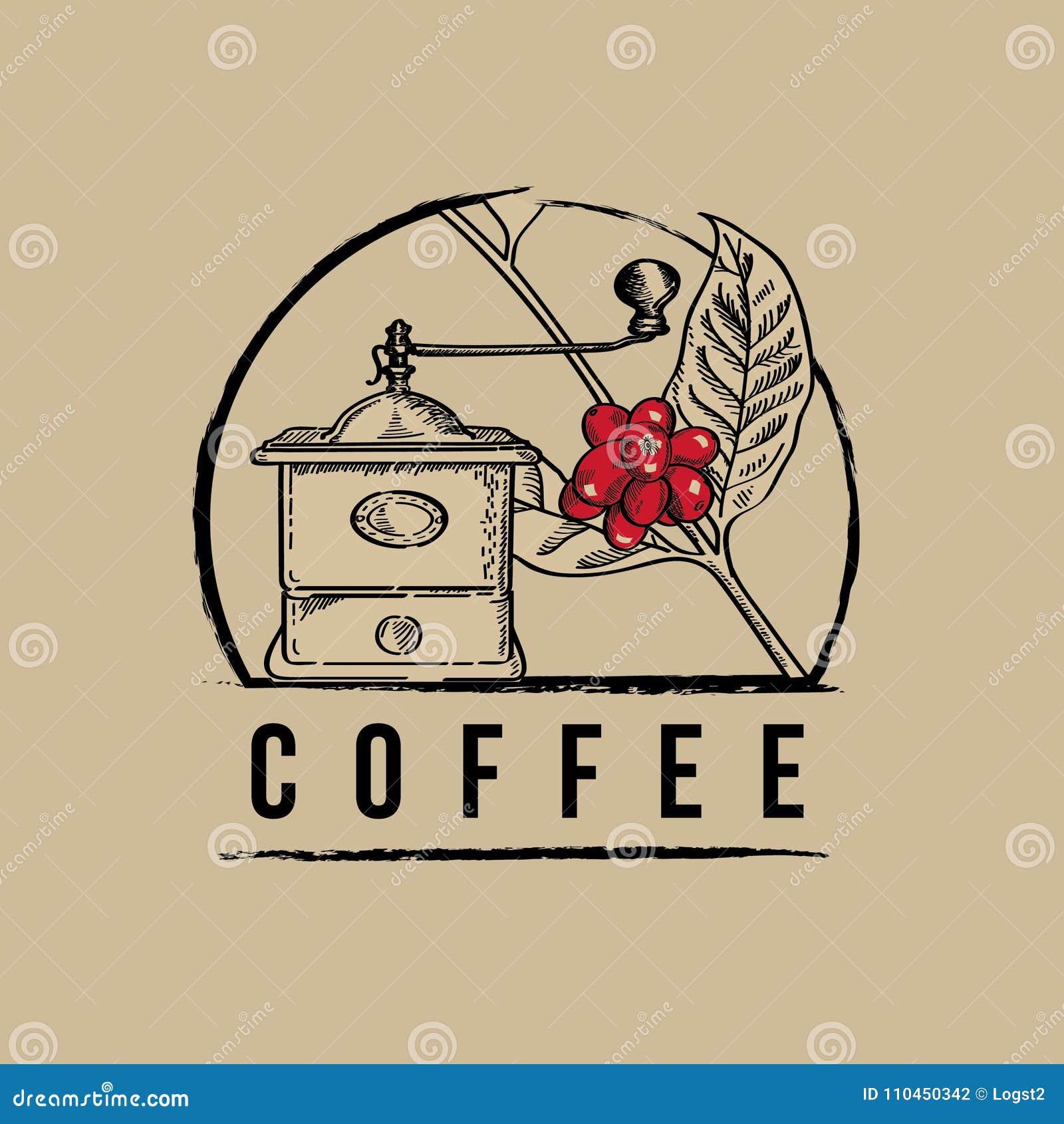 Kaffekvarnvektorlogo Kaffekvarnillustration