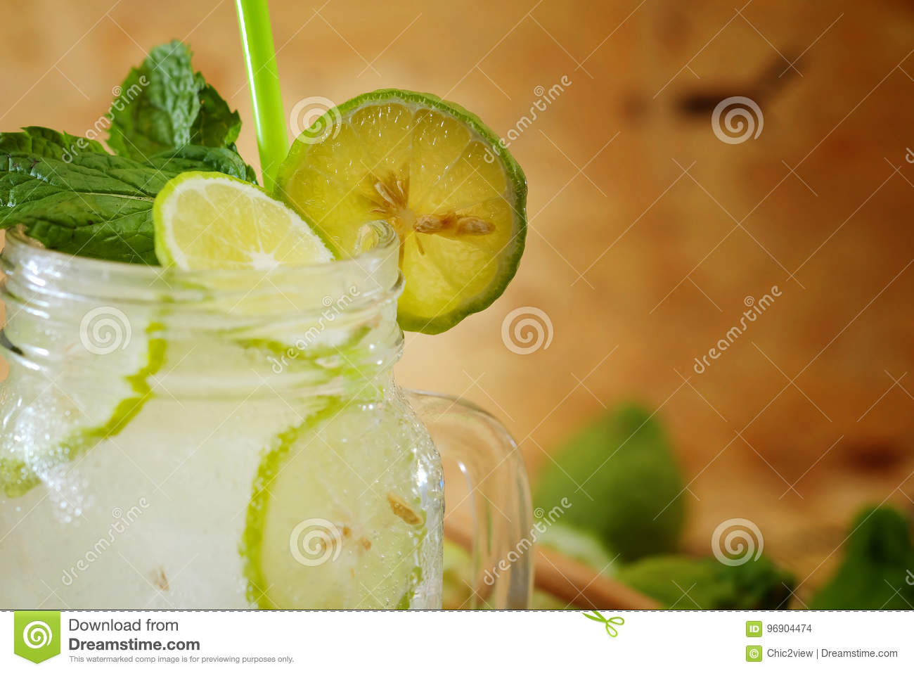 Kaffir lime So, Bergamot soda Cool drink, Thailand tradition Herb for Treatment of Acid Reflux, with Oriental Earth tone map backg