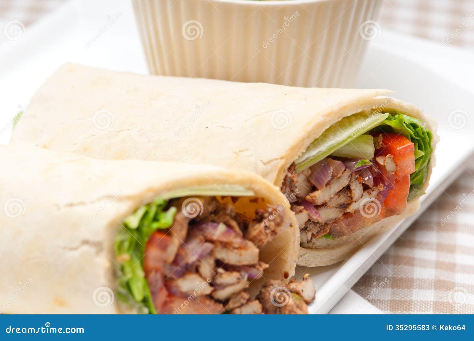 kafta shawarma chicken pita wrap roll sandwich stock