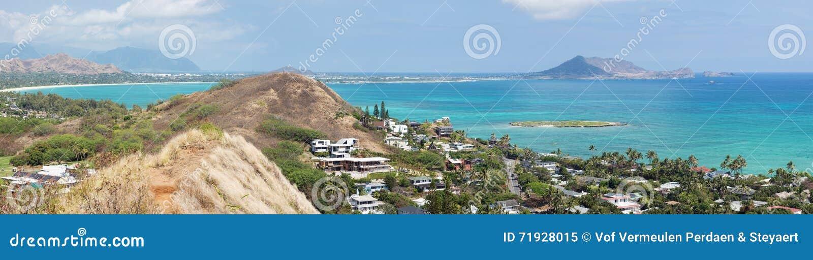 Kailua全景从Lanikai药盒的落后