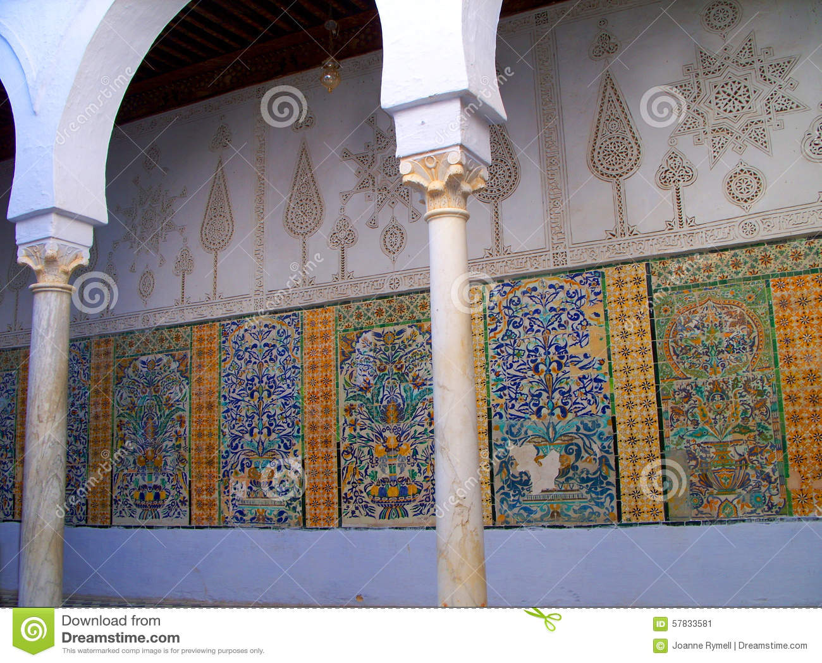 Kairouan mosque faience mosaic detail stock image image of