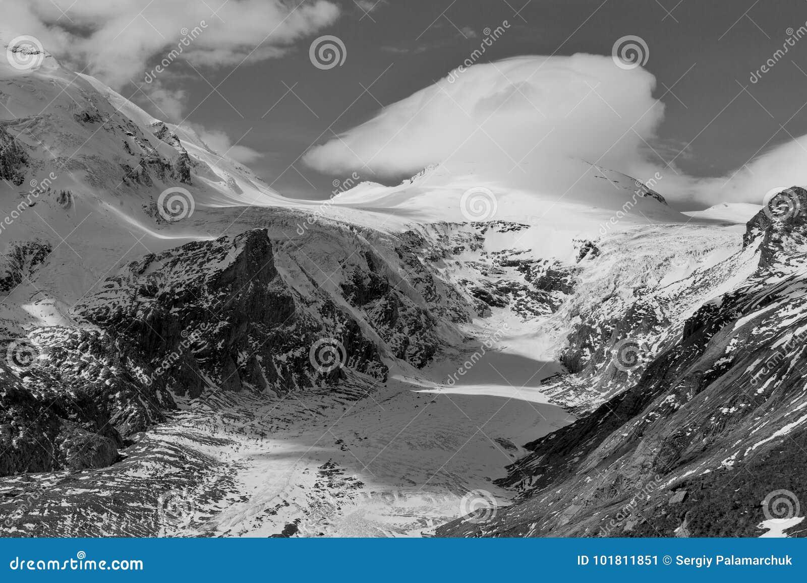 Kaiser franz josef glacier grossglockner austrian alps black and white