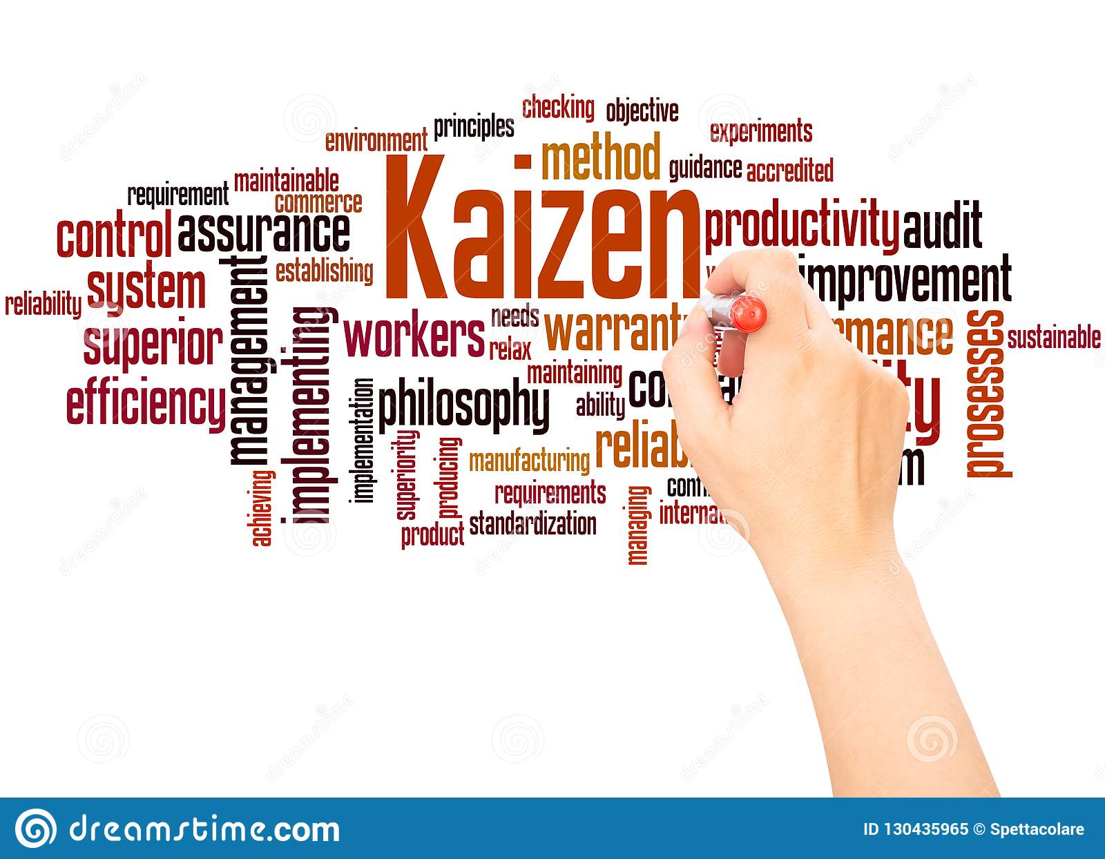 Kaizen Word Cloud Hand Writing Concept Stock Illustration