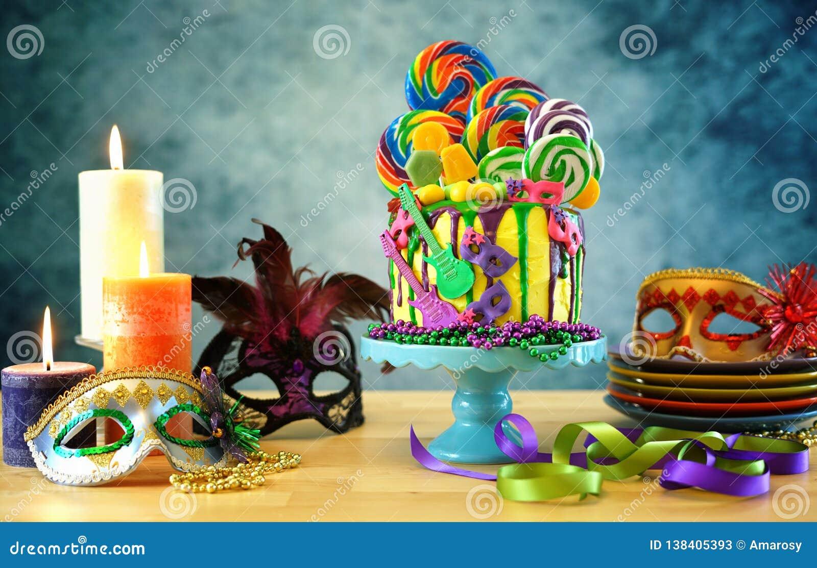 Kaka för droppande för fantasi för Mardi Gras temapå-trend candyland