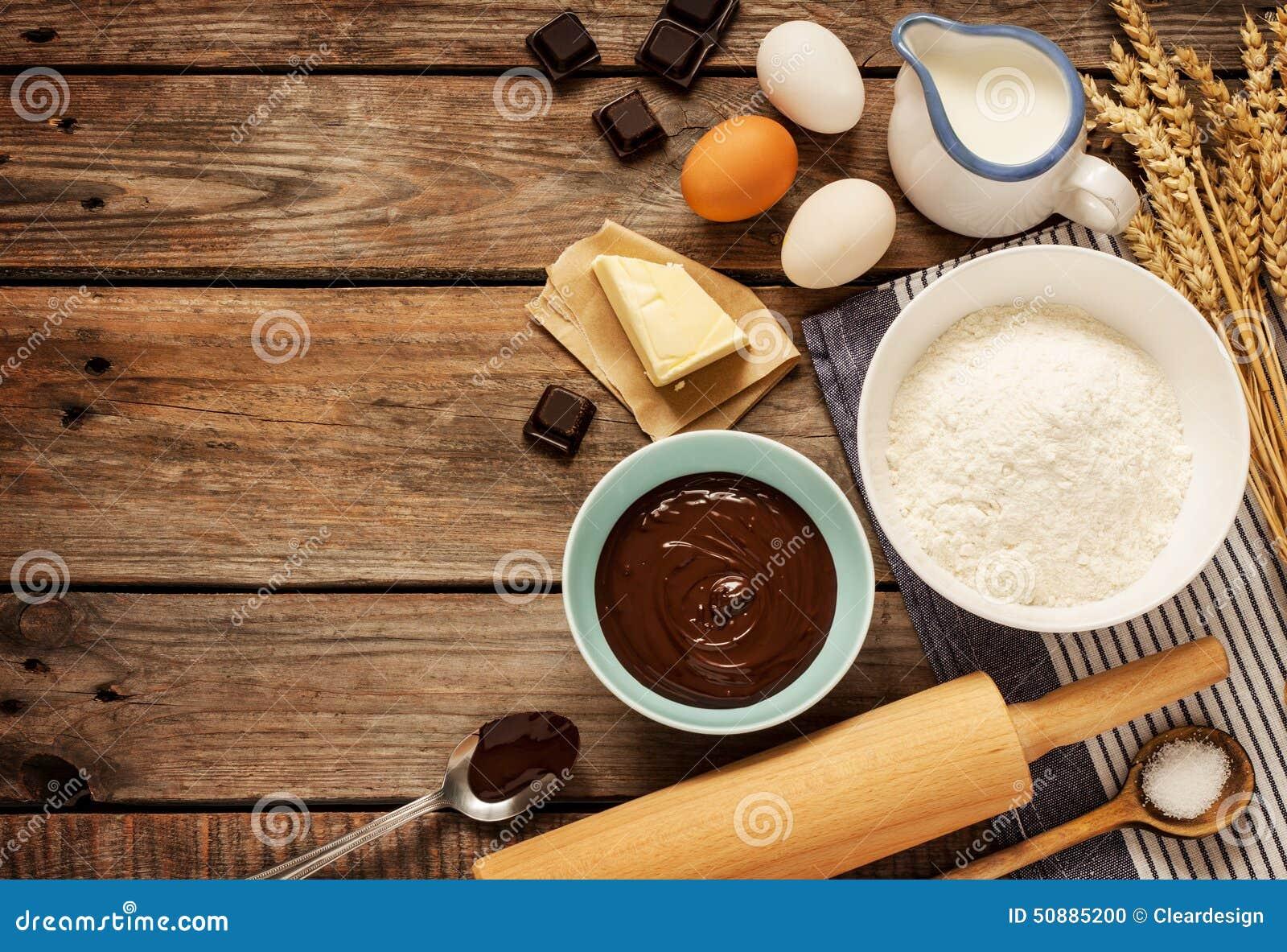 Kaka för stekhet choklad - receptingredienser på tappningträ