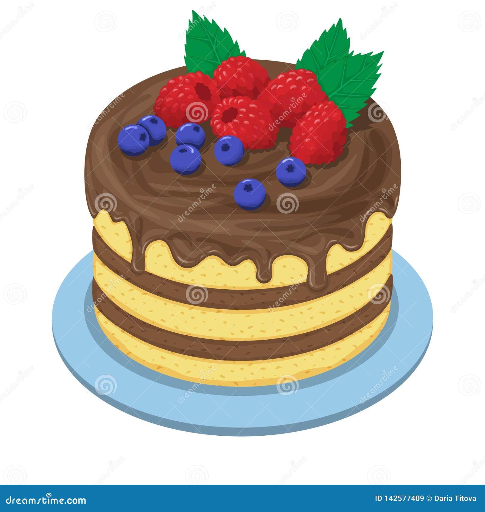 Kaka med kräm och frukt för choсolate