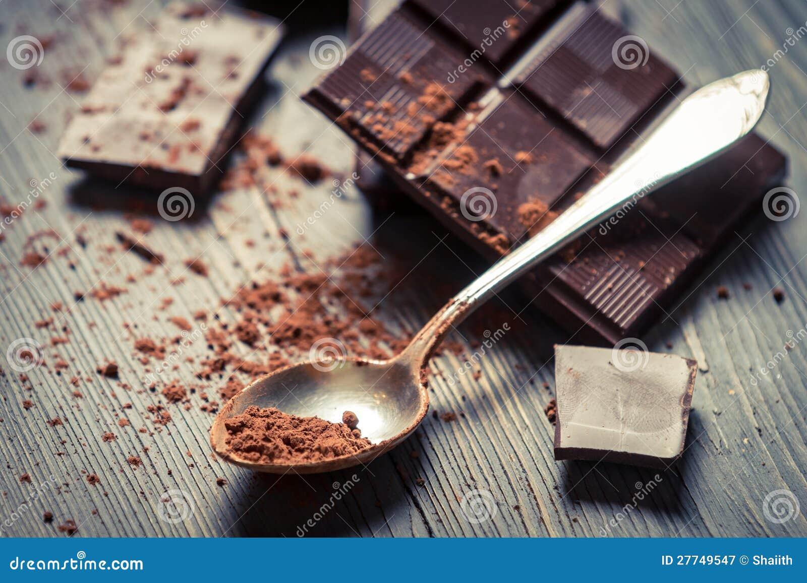 Kakao Proszek na łyżkowej i Ciemnej Czekoladzie