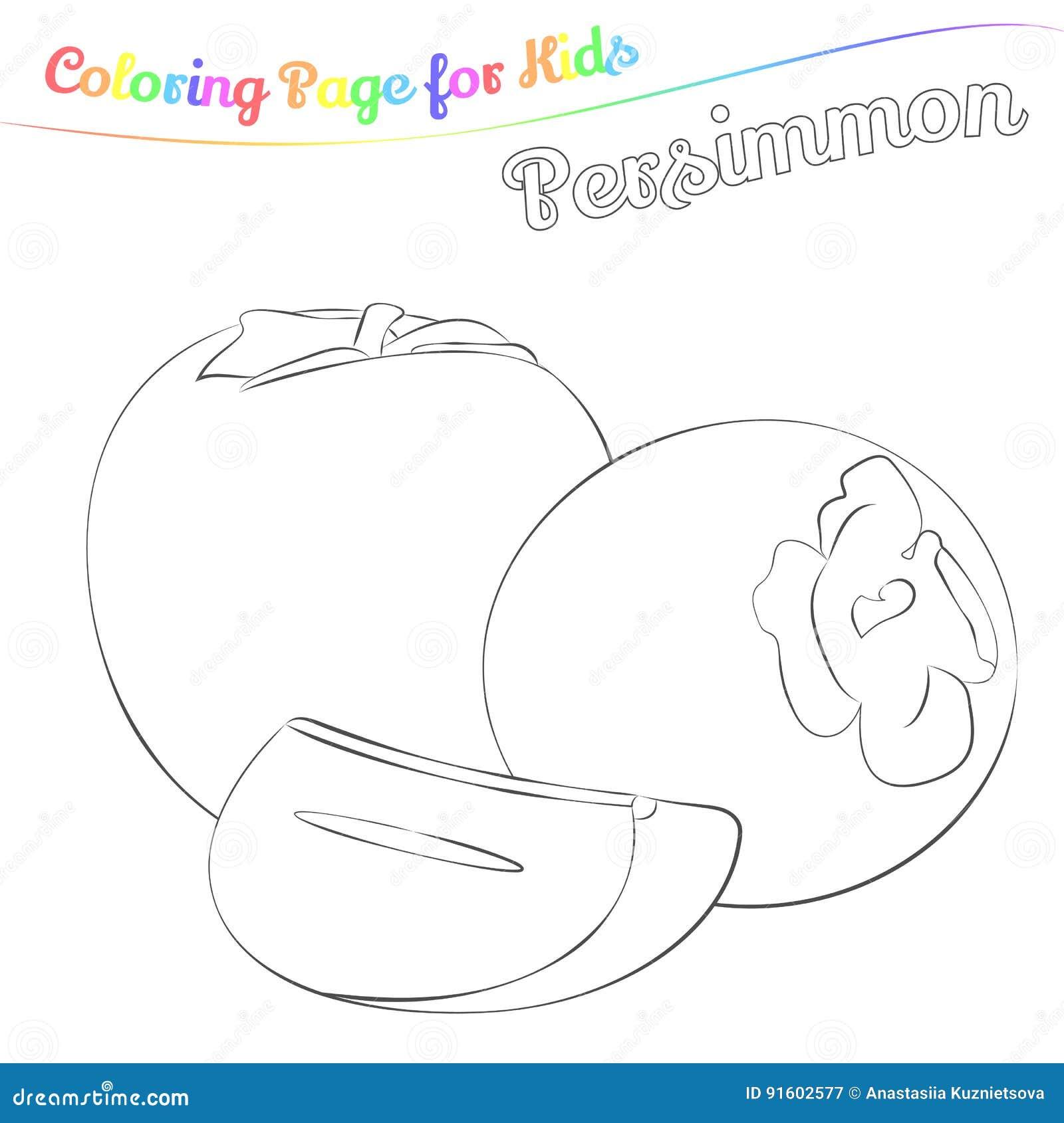 Coloriage Fruit Kaki.Kaki Delicieux Pour Colorer Dans Le Style De Bande Dessinee D Imple
