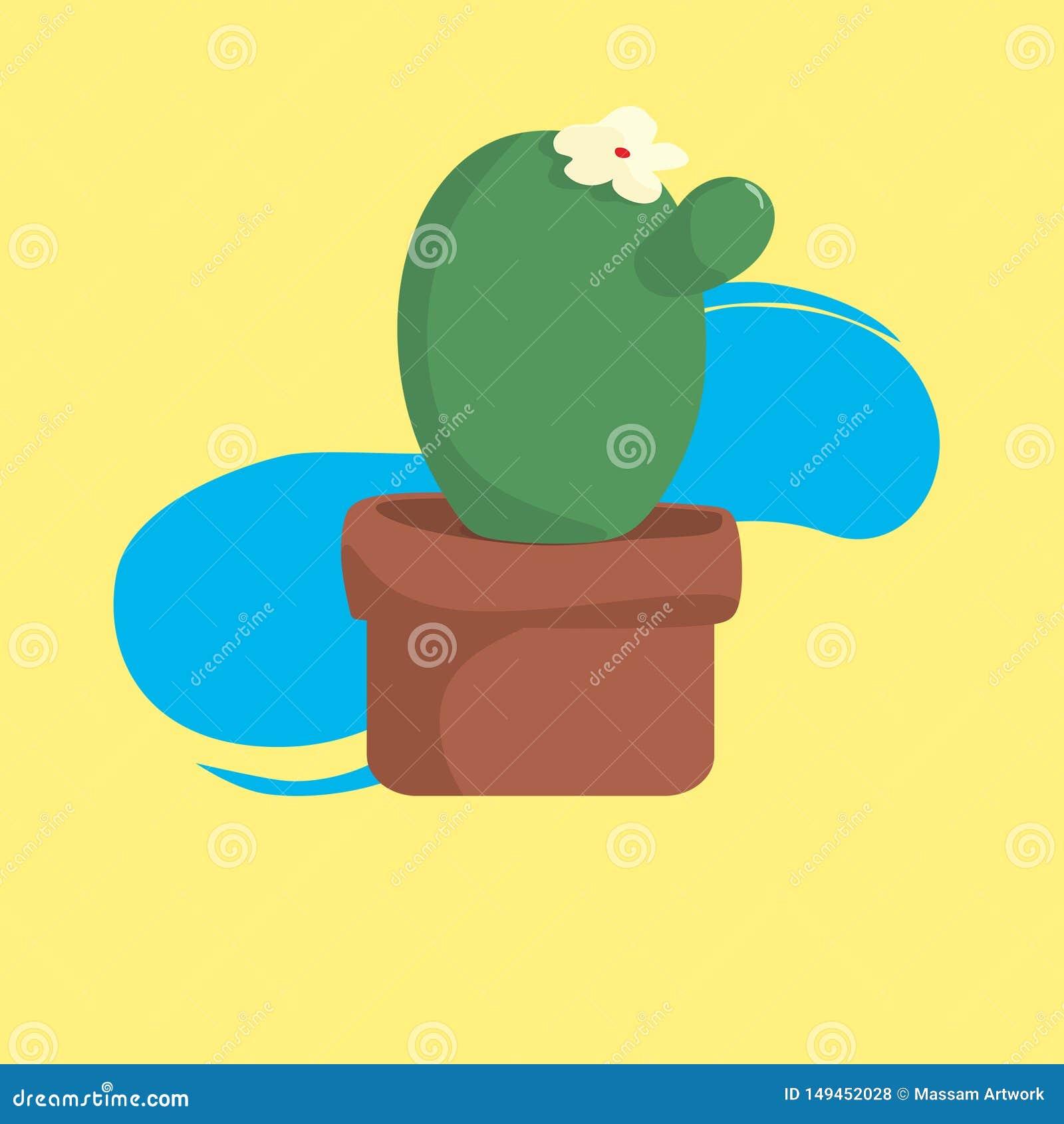 Kaktus mit Topf mit k?hlem gelbem Hintergrund