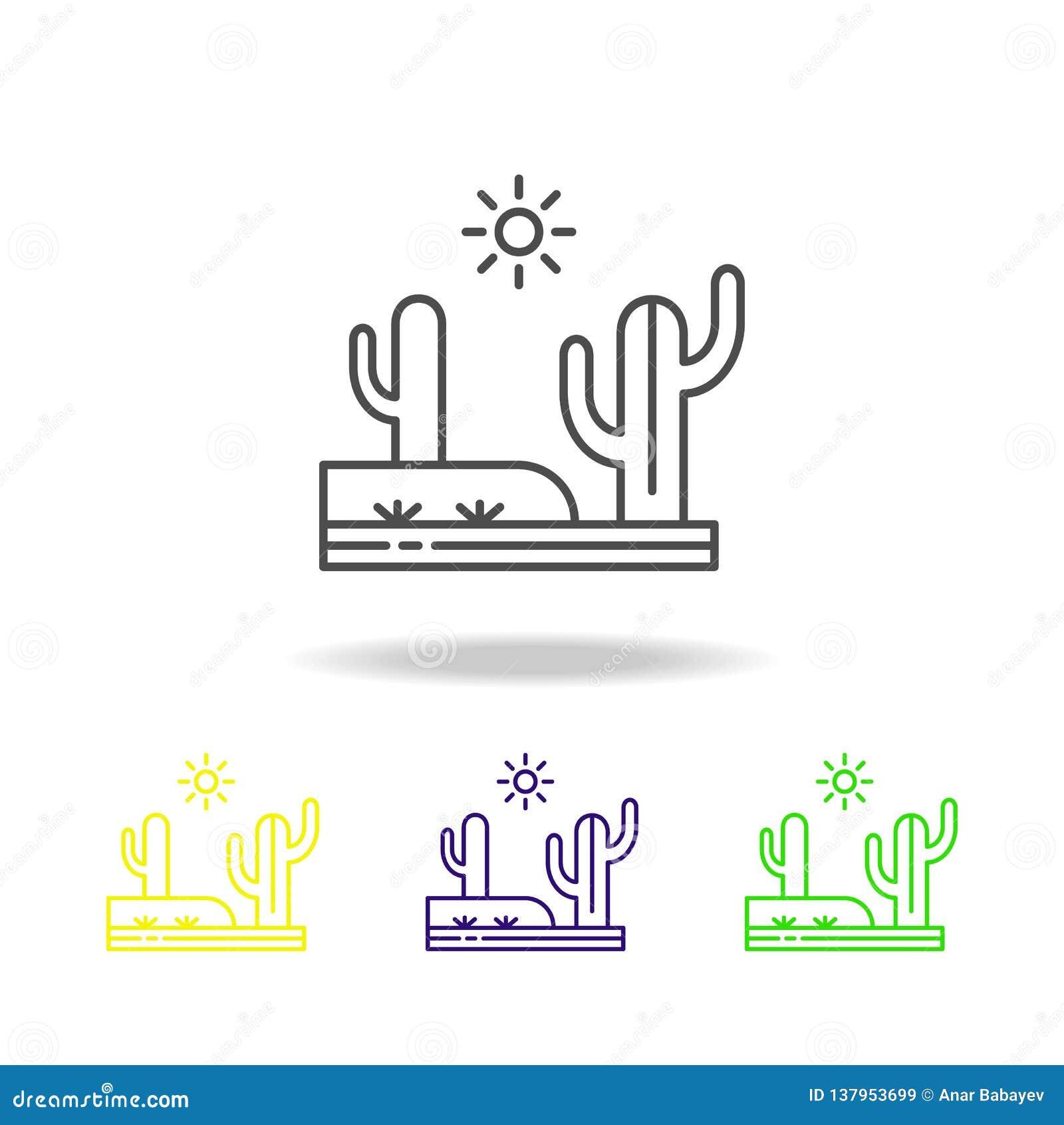 Kaktus, Wüste, heiße, sonnige farbige Ikone Kann für Netz, Logo, mobiler App, UI, UX verwendet werden