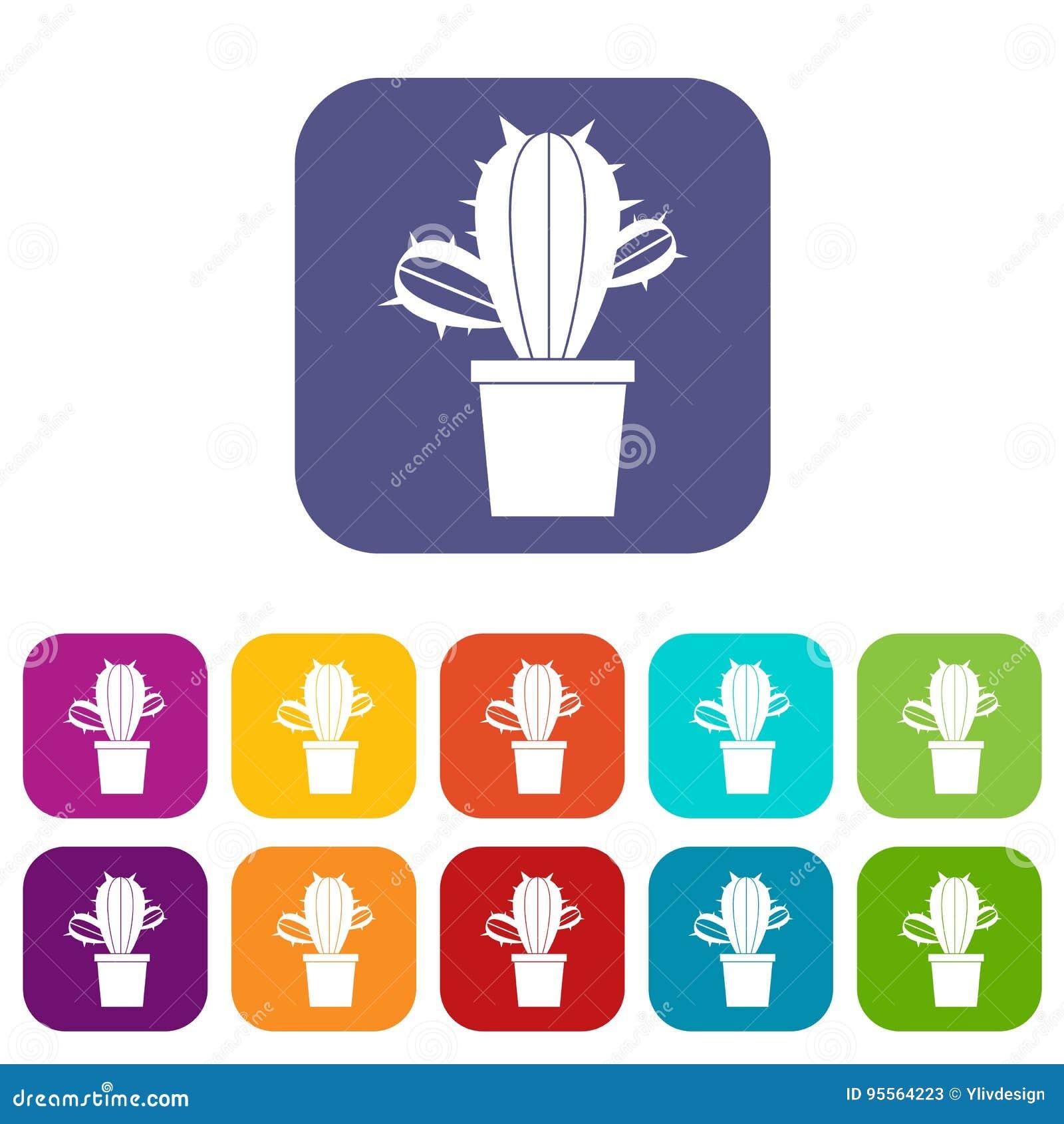 Kaktushouseplants i lägenhet för krukasymbolsuppsättning