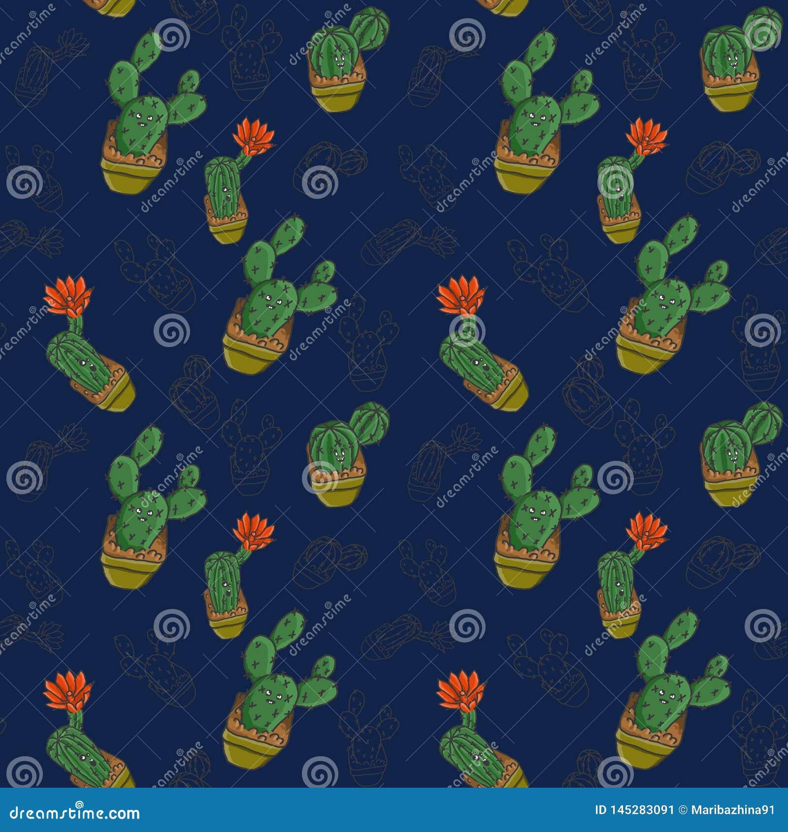 Kaktusy w garnkach na błękitnym tle patern