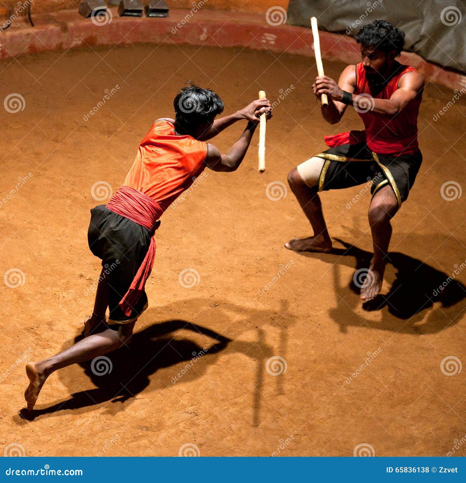 Kalaripayattu kampsporter i Kerala, södra Indien
