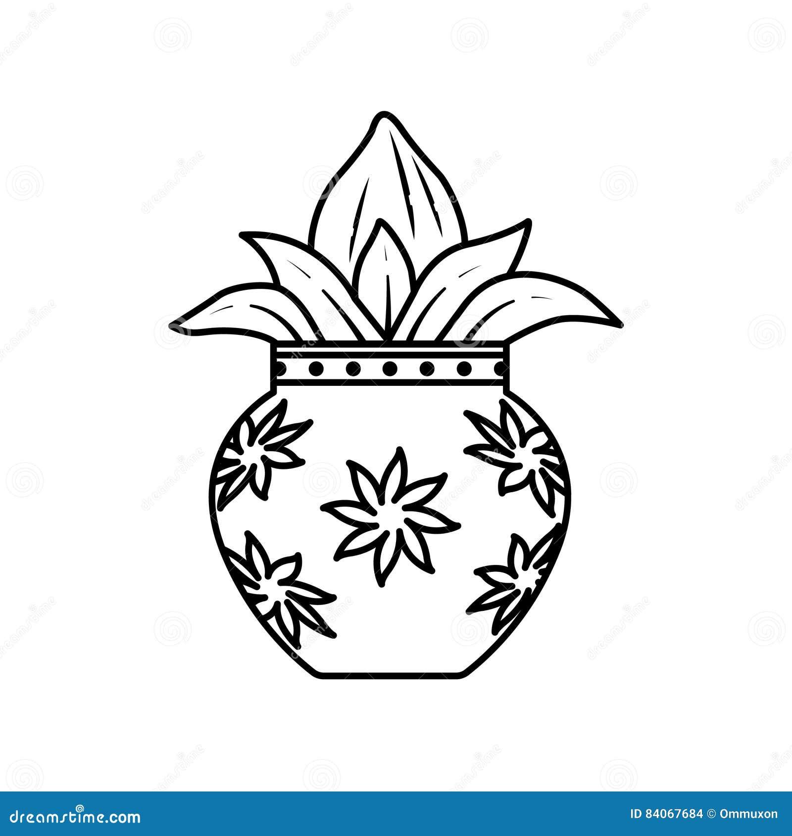 golden kalash with coconut cartoon vector