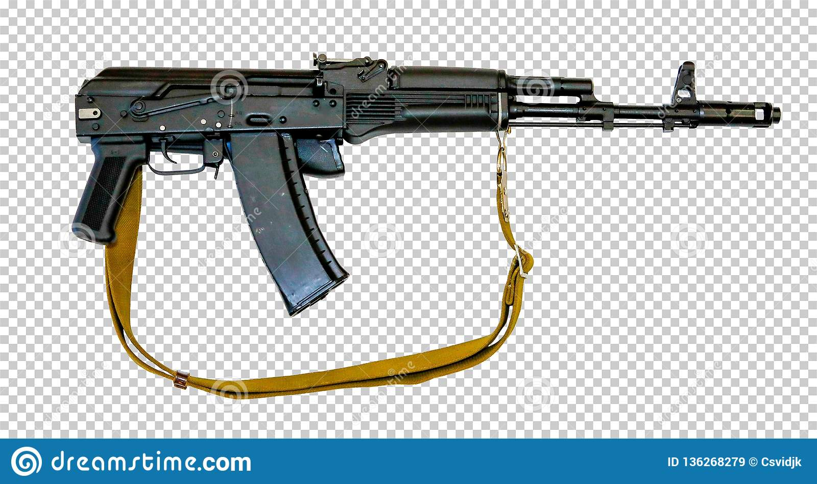 Kalashnikov AK-74M With A Belt, Transparent Background, Png