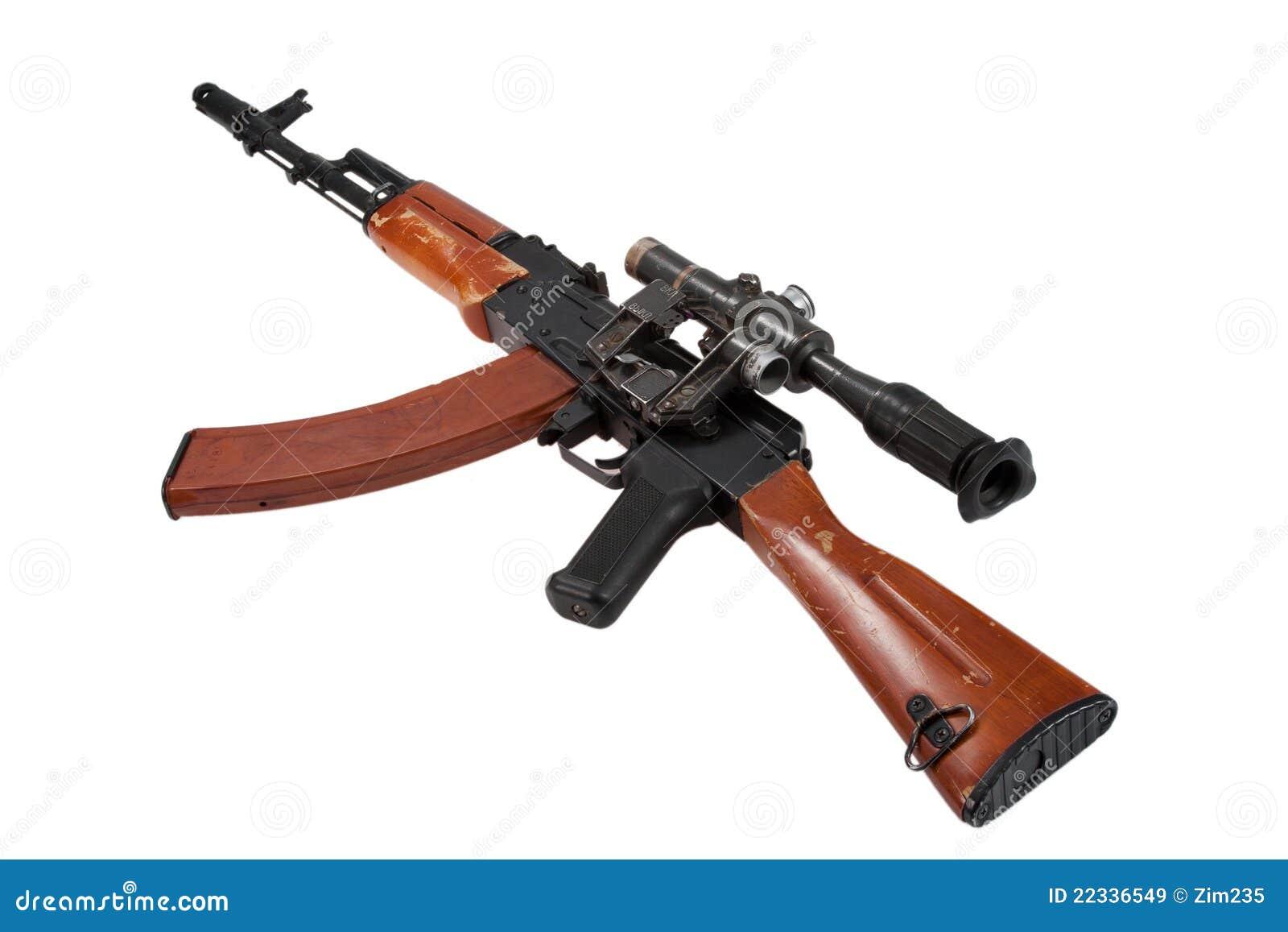 Kalashnikov Assault Rifle Ak74 With Sniper Scope Stock ...