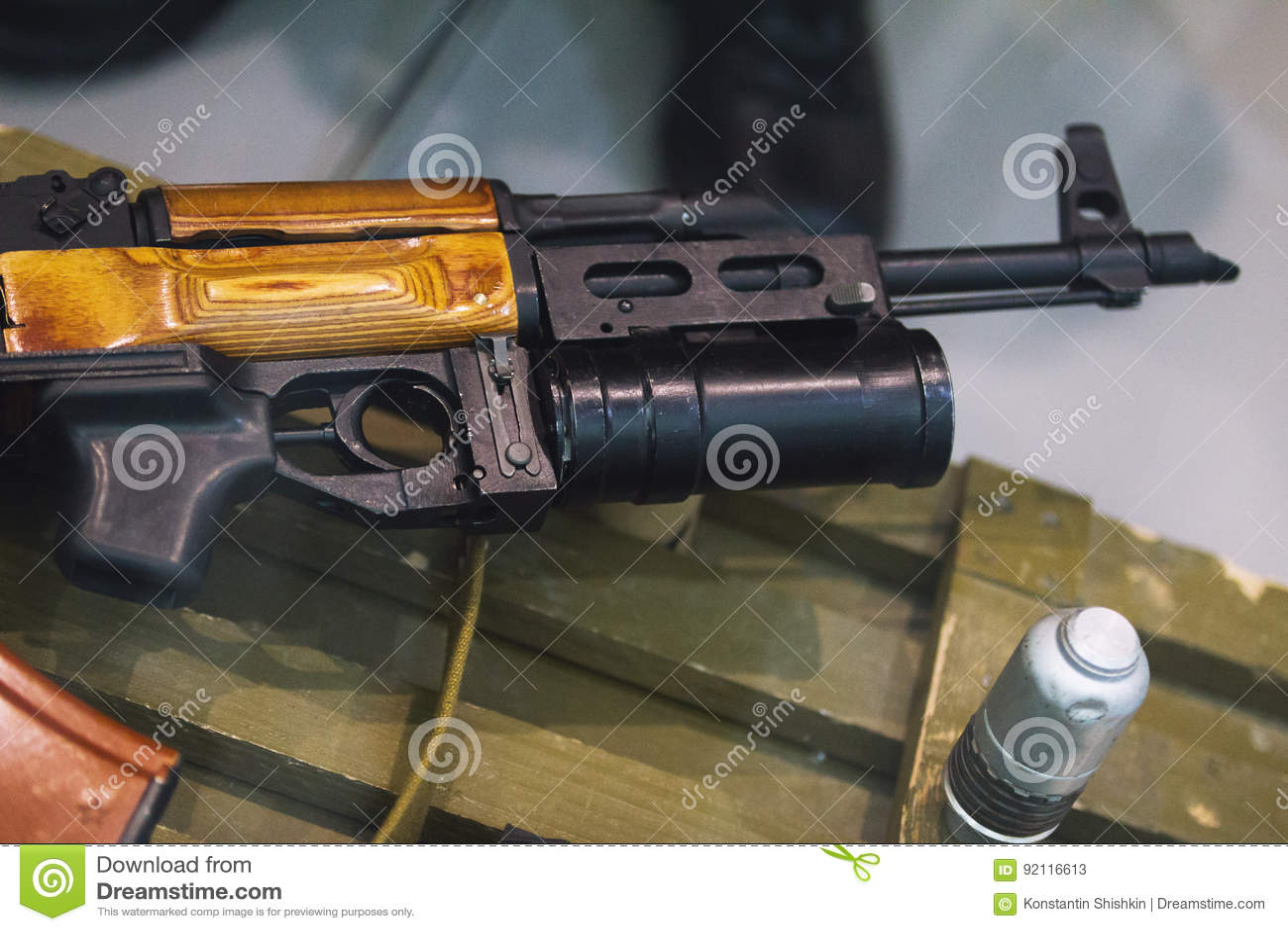Kalashnikov Rifle With Underbarrel Grenade Launcher, Close
