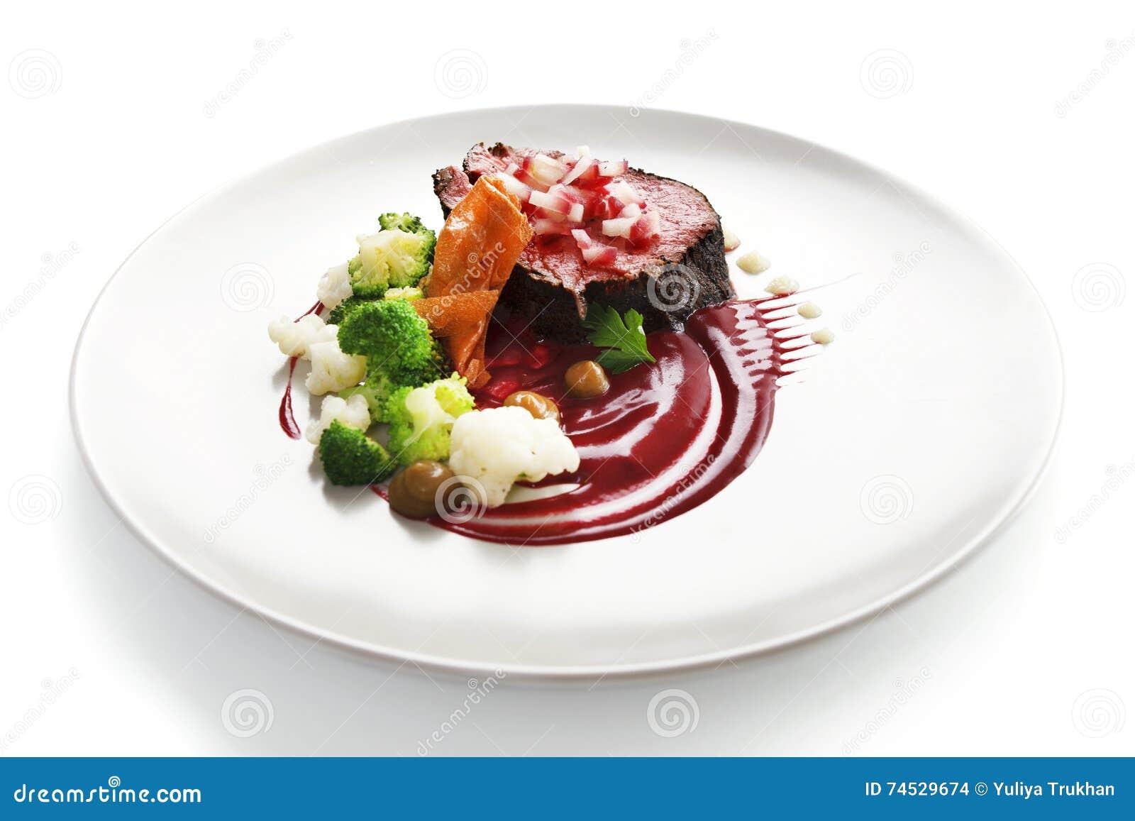 Kalbfleisch leiste molekulare küche mit steak stockfoto bild von