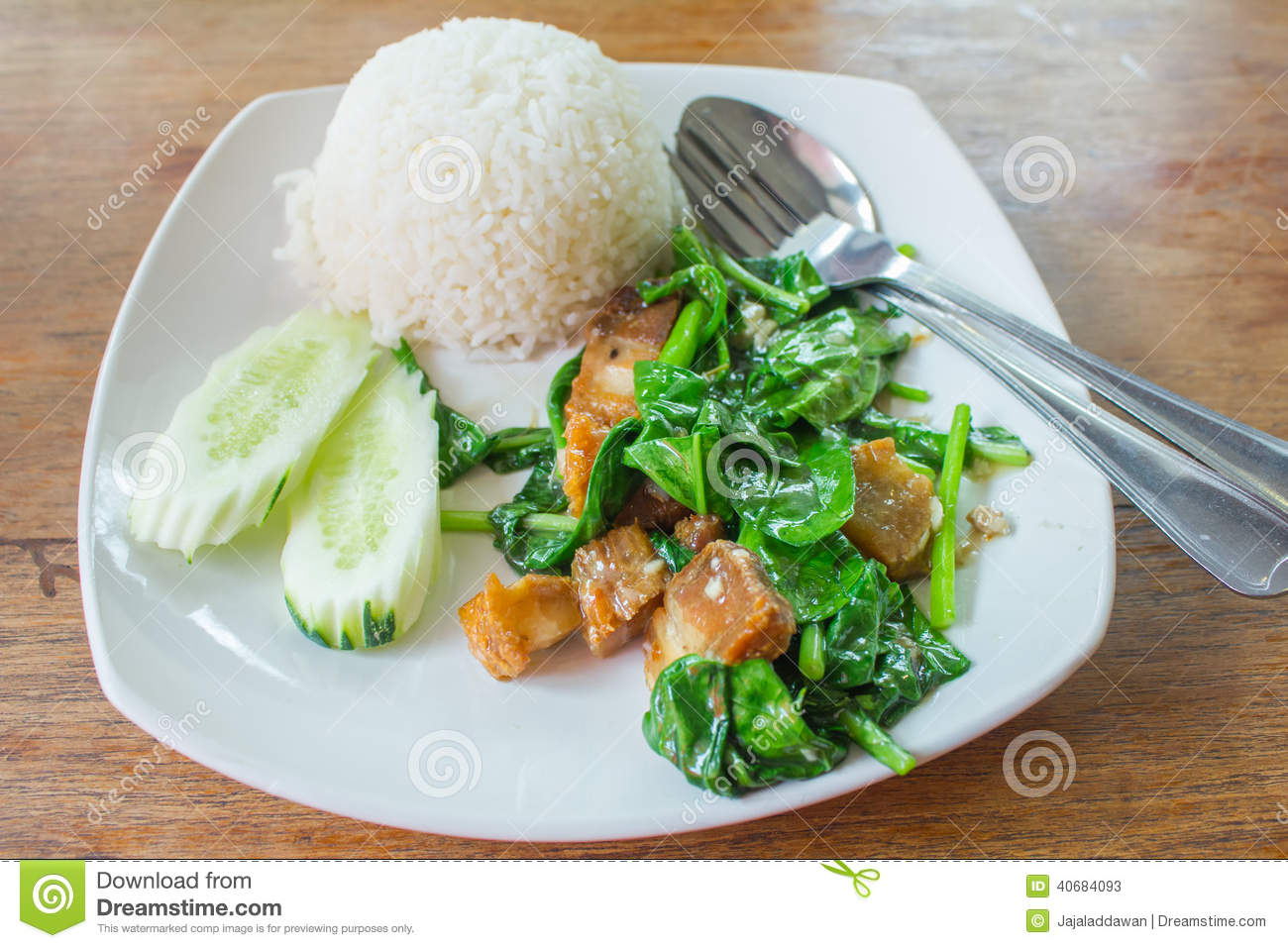 Kale Fried With Crispy Pork Steamed Rice Stock Photo - Image: 40684093