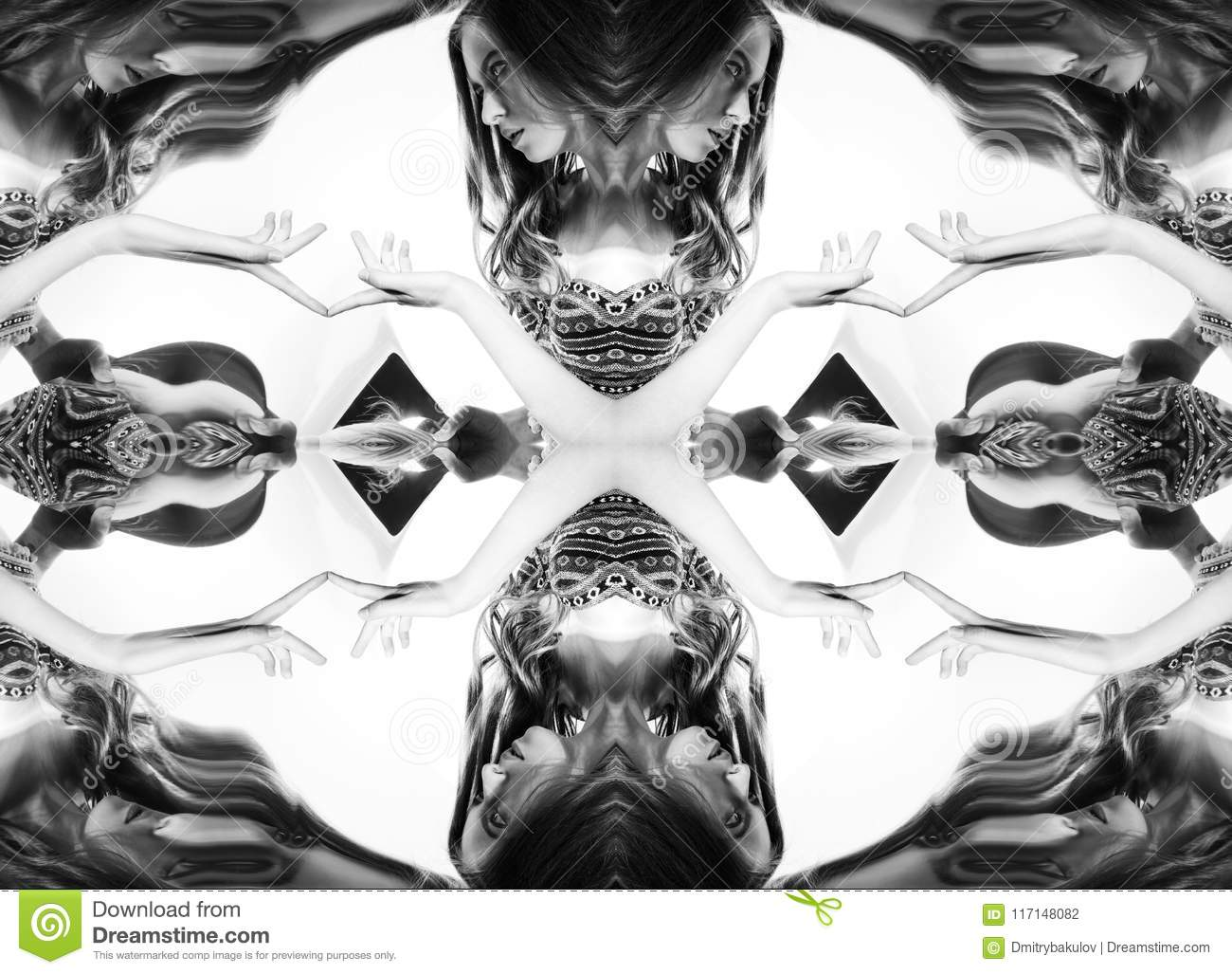 Kaleidoscope. Abstract montage of a beautiful young woman on white background. Black and white