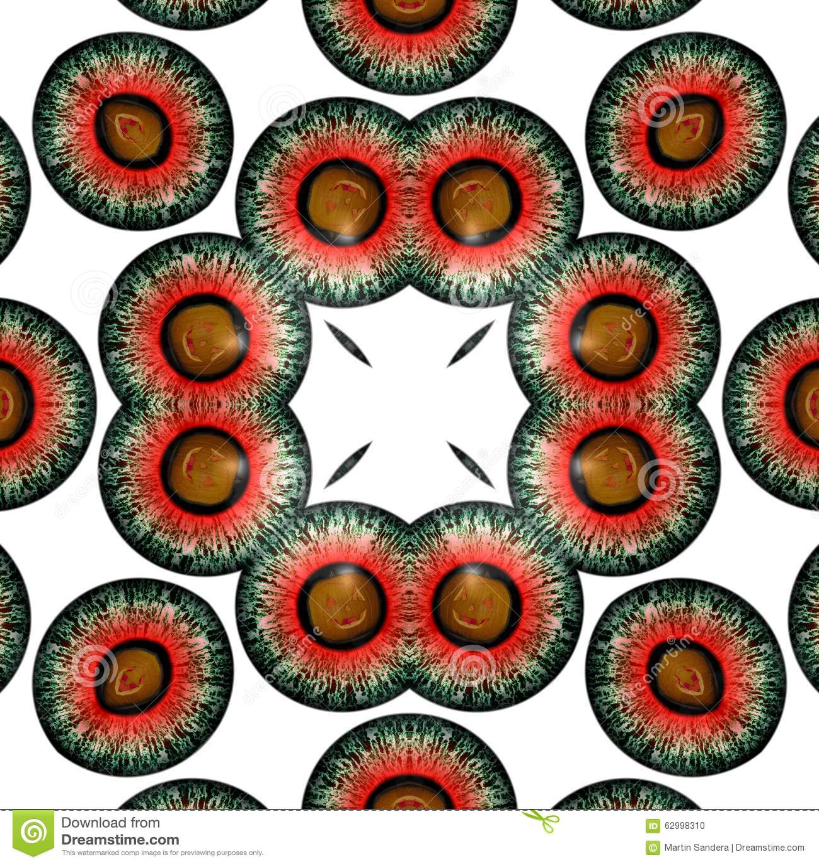 Kaleidoscope Eyes Halloween ghosts. Seamless texture. Eye Halloween ghosts. Looking into the eye of fear