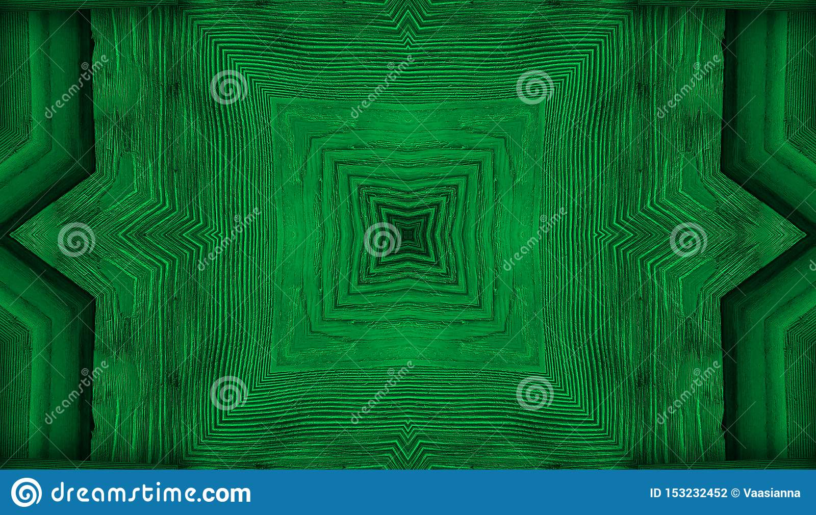 Kaleidoscope. green background fractal mandala, reminding leafs or wooden texture geometrical ornament floral pattern