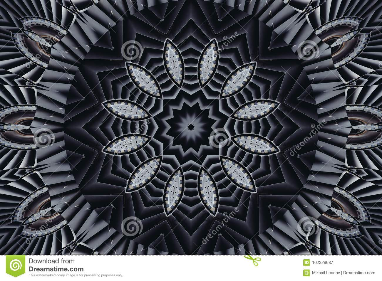 Kaleidoscope pattern abstract background. Round pattern. Architectural abstract fractal kaleidoscope background. Abstract turbine