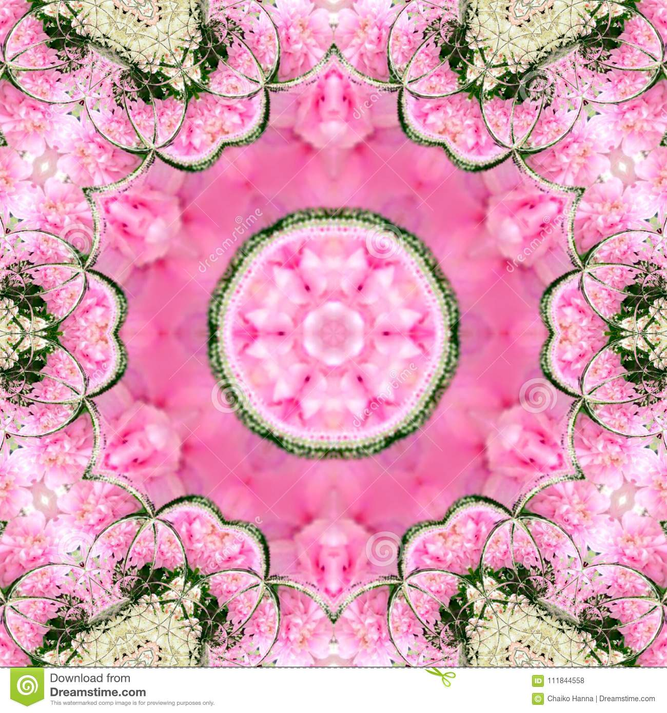 Kaleidoscope Of Pink Flowers Stock Illustration Illustration Of