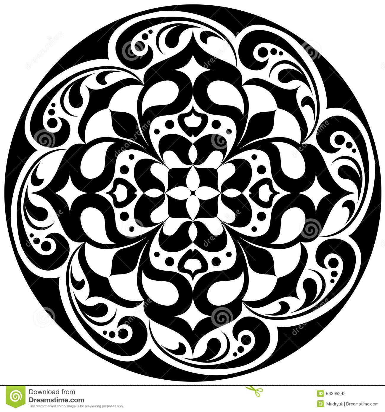 kaleidoskopisches blumen tatoo mandala in schwarzweiss vektor abbildung illustration von. Black Bedroom Furniture Sets. Home Design Ideas