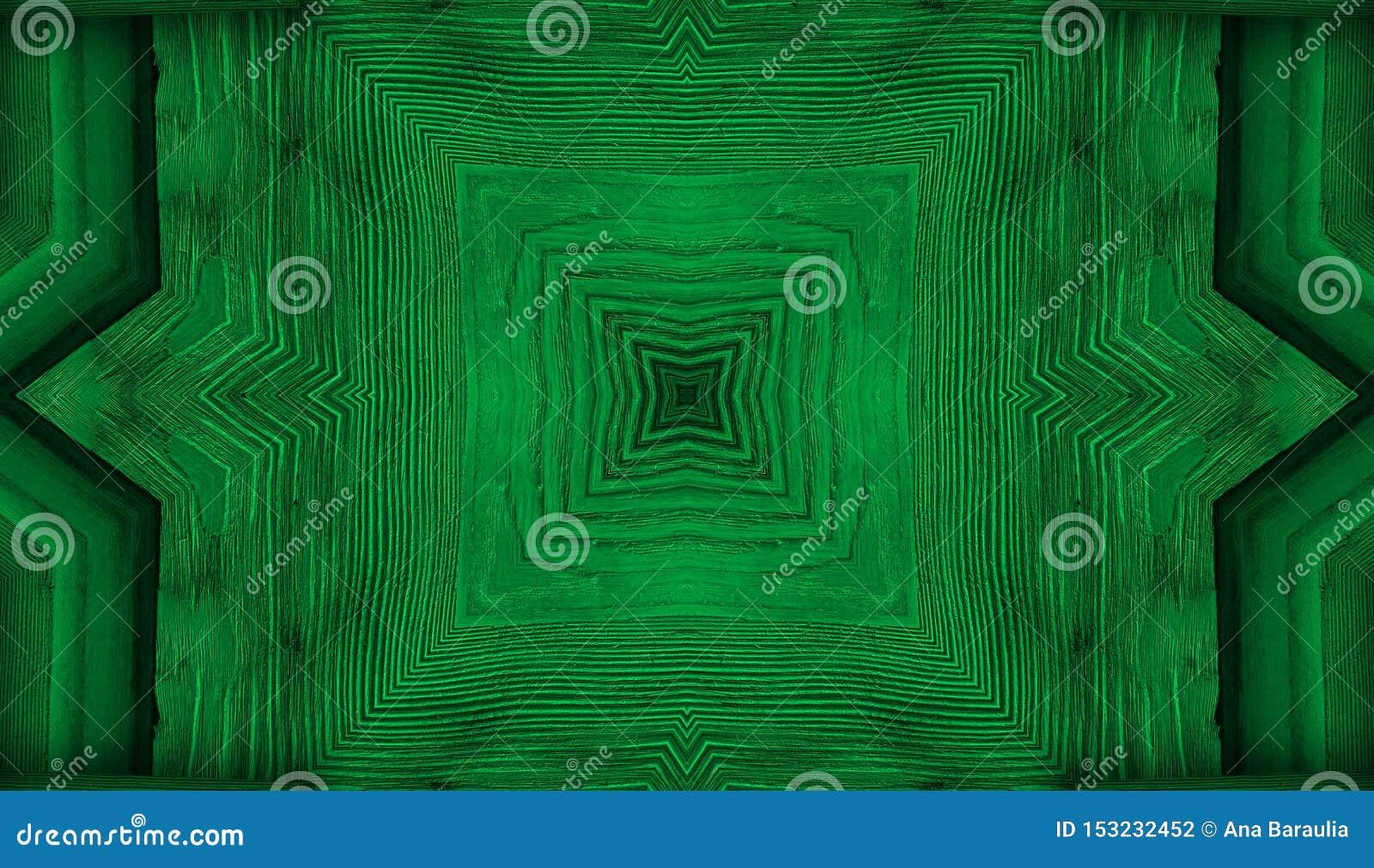 Kalejdoskop zielony tła fractal mandala, przypominający liście lub drewnianego tekstura geometrical ornamentu kwiecistego wzór