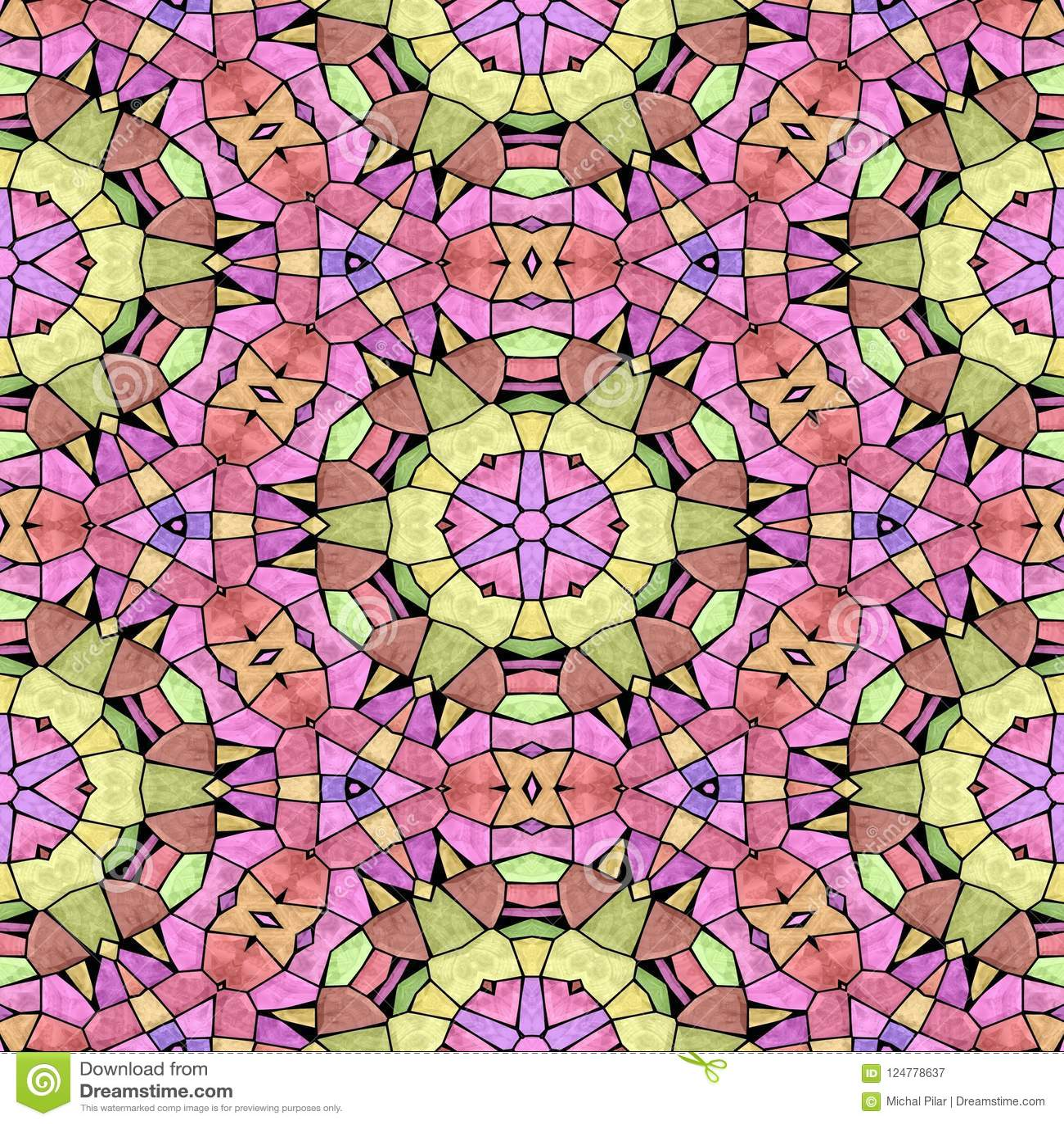 Kalejdoskopowa multicolor bezszwowa abstrakcjonistyczna mandala tekstura