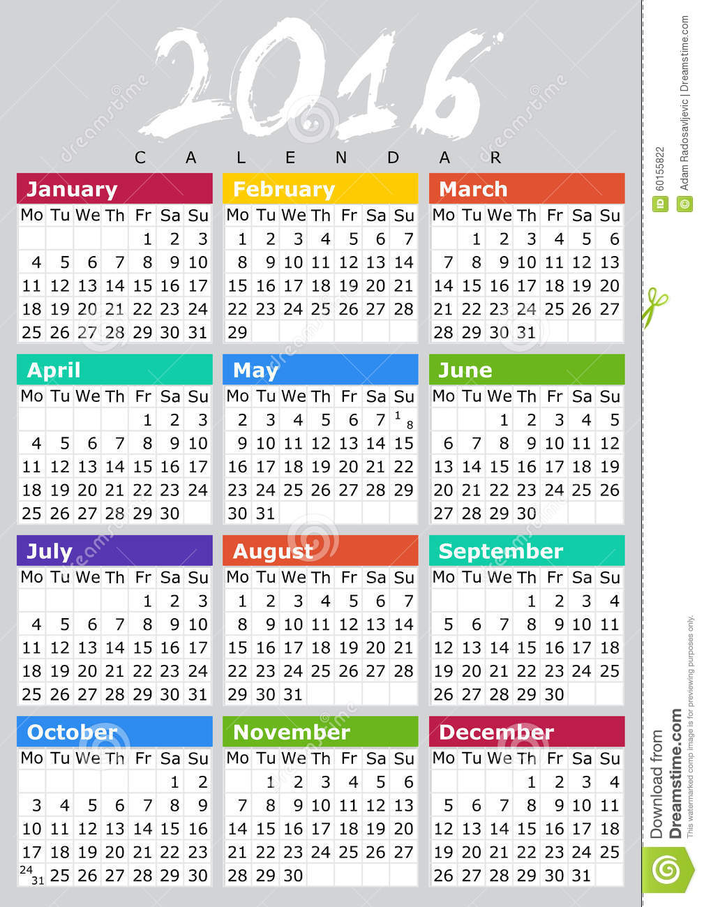 simple calendar design for 2016 year mr no pr no 0 12486 0