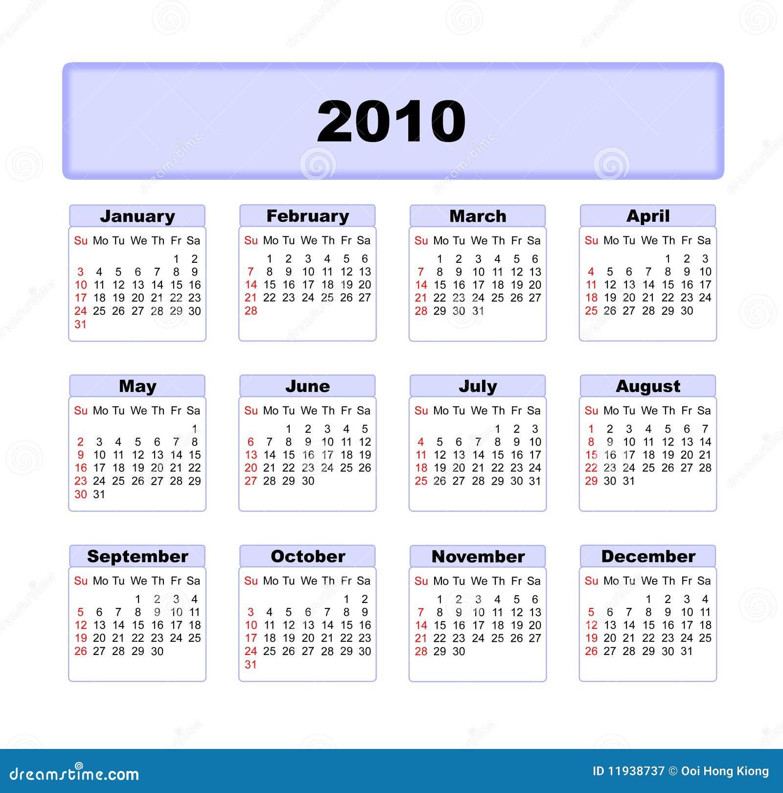 kalendarz 2010 ilustracji ilustracja z o onej z wykaz 11938737. Black Bedroom Furniture Sets. Home Design Ideas