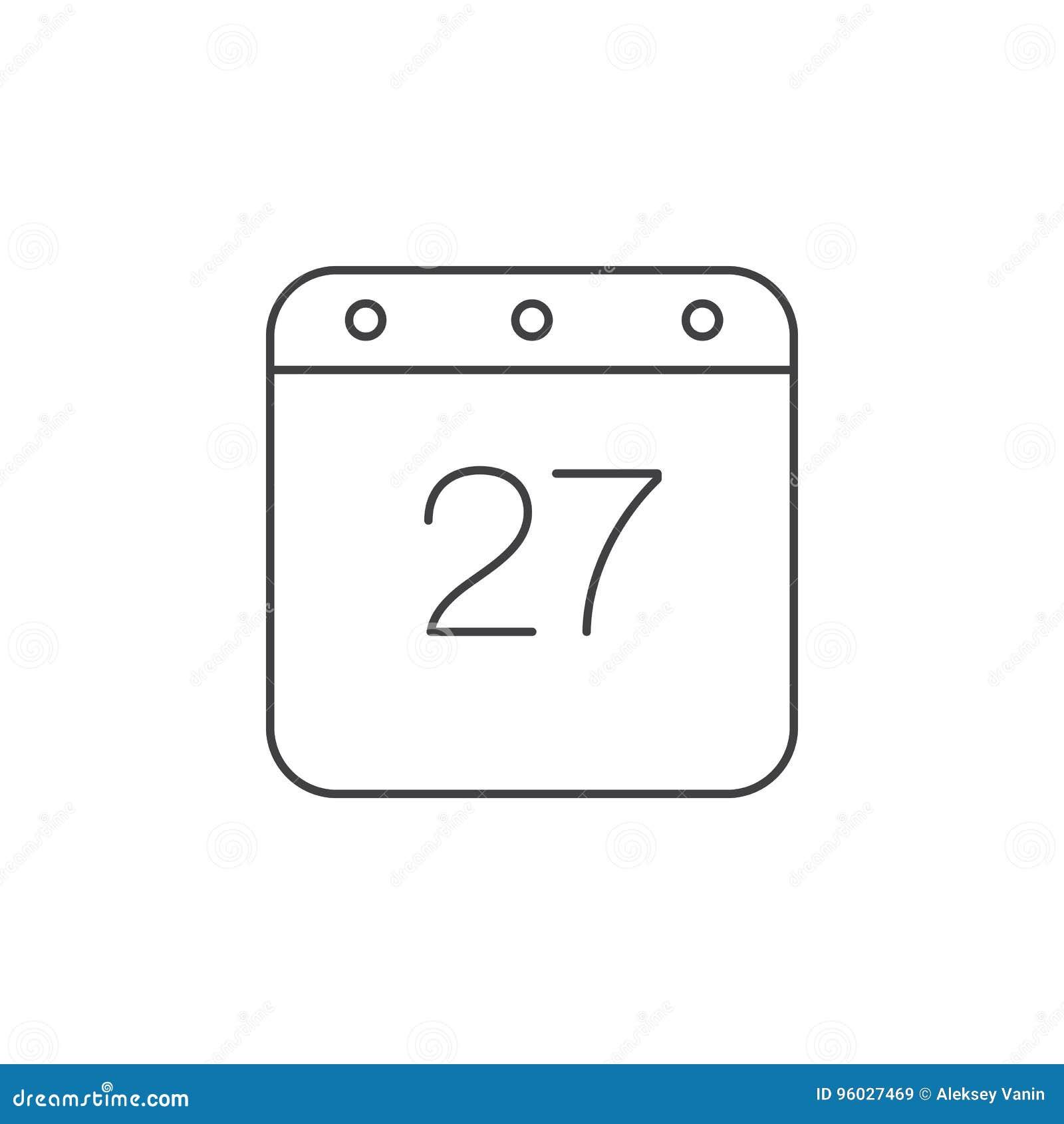 Kalendarz cienka kreskowa ikona, konturu loga wektorowa ilustracja, linea