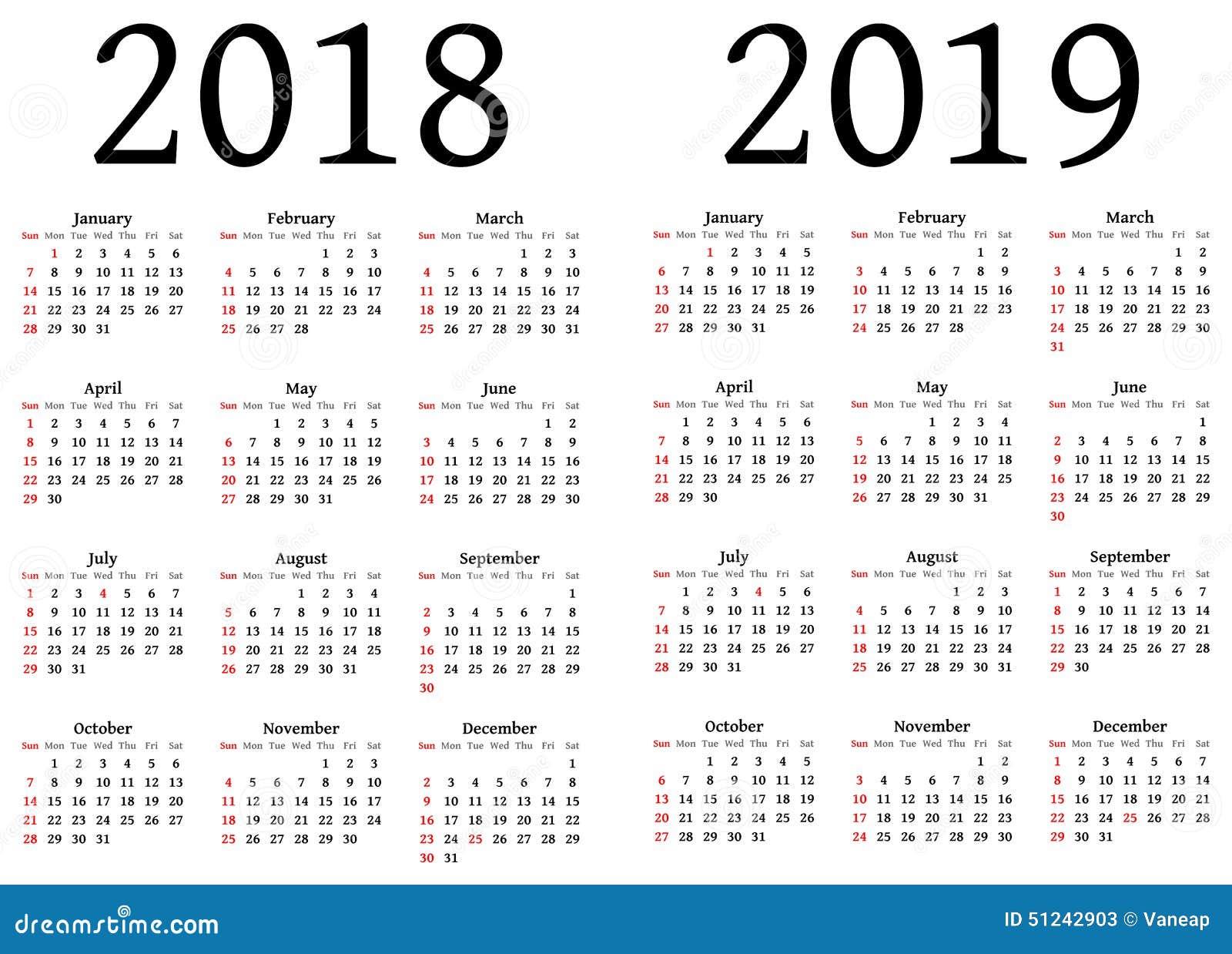 Kalendarz dla 2018 i 2019 ilustracji. Ilustracja złożonej ...
