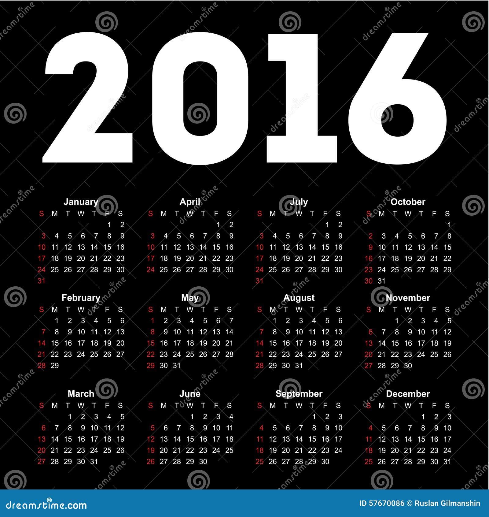 Kalendarz dla 2016 na czarnym tle