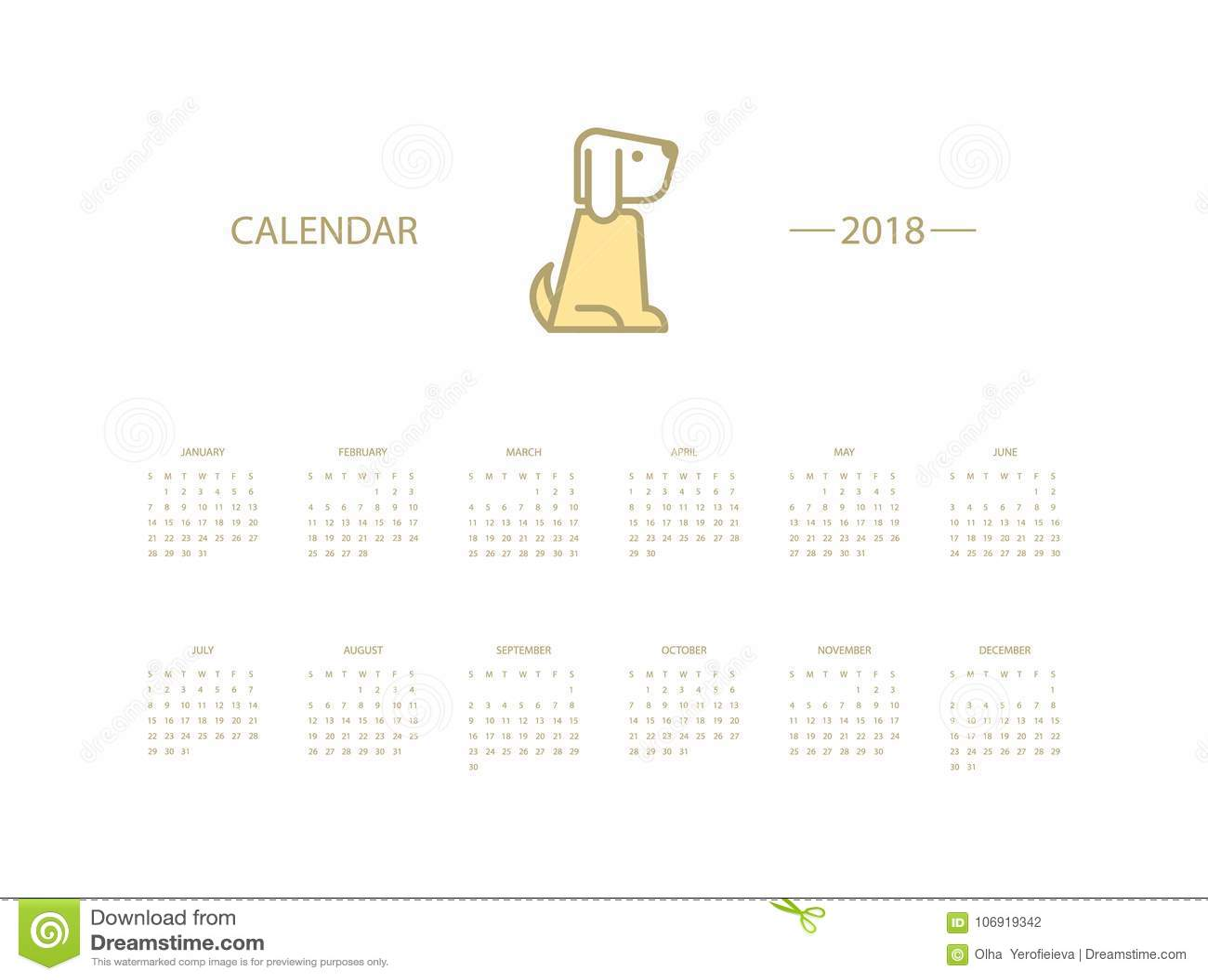 Kalendarz dla 2018 rok