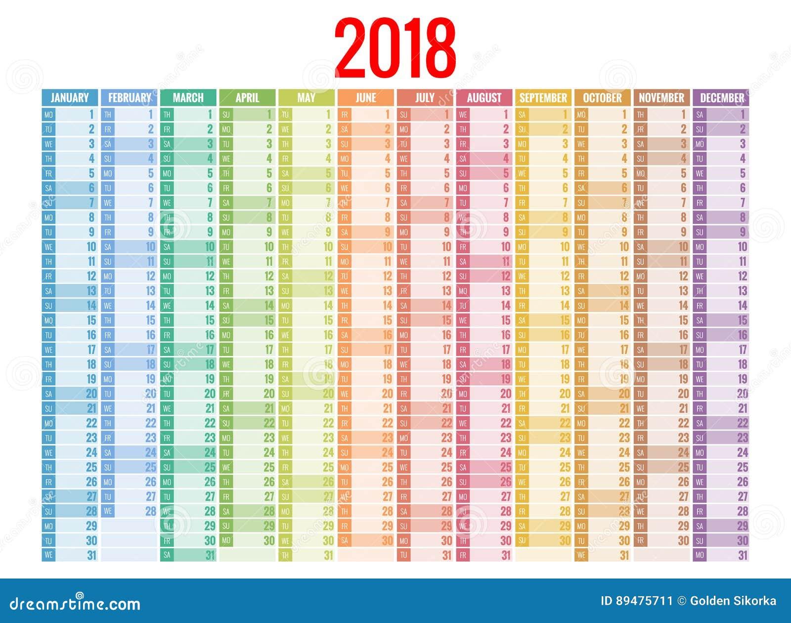 2018 kalendarz Druku szablon Tydzień Zaczyna Niedziela Portret orientacja Set 12 miesiąca Planista dla 2018 rok