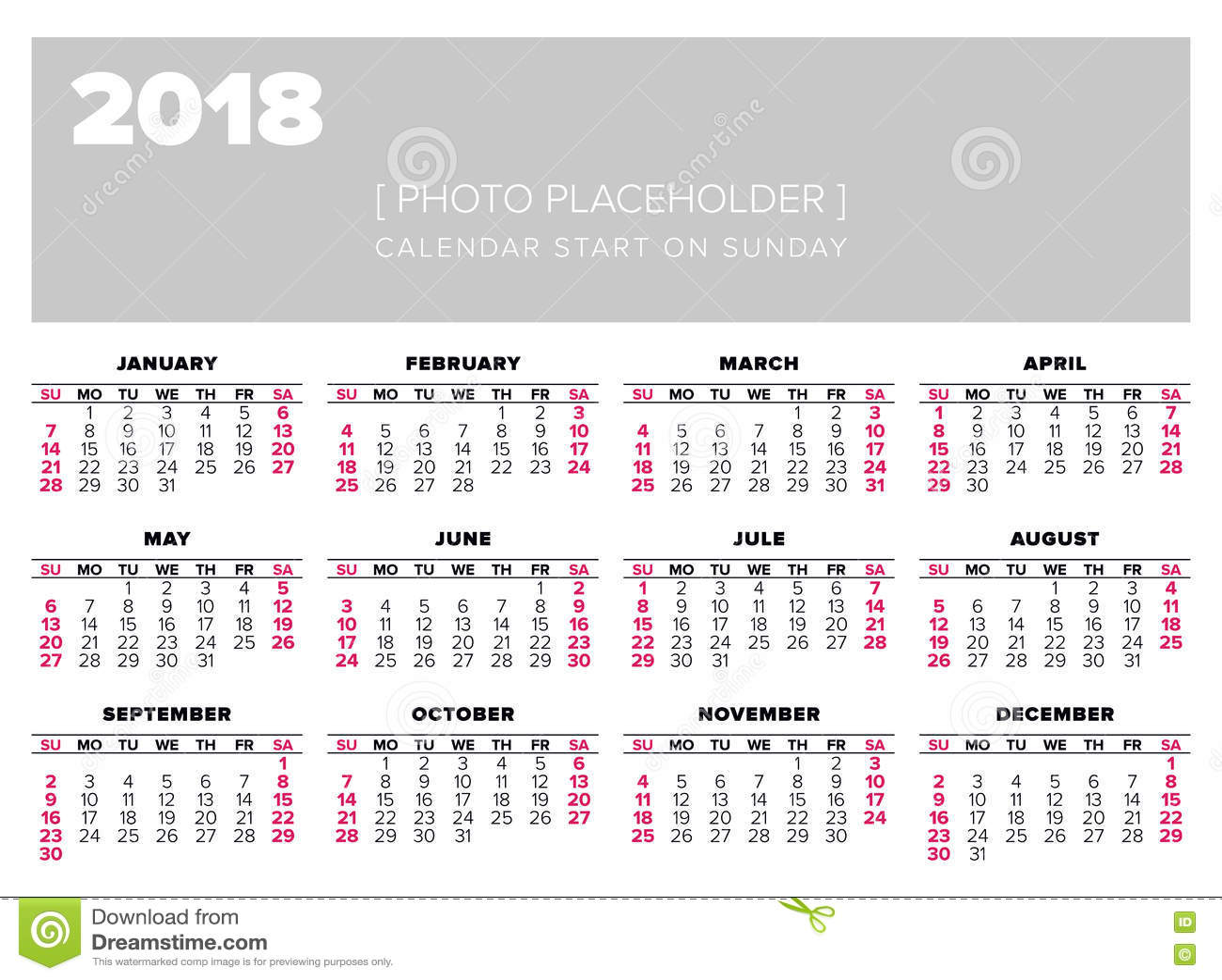 Kalendarz 2018 Rok Projekta Wektorowy Szablon Ilustracja
