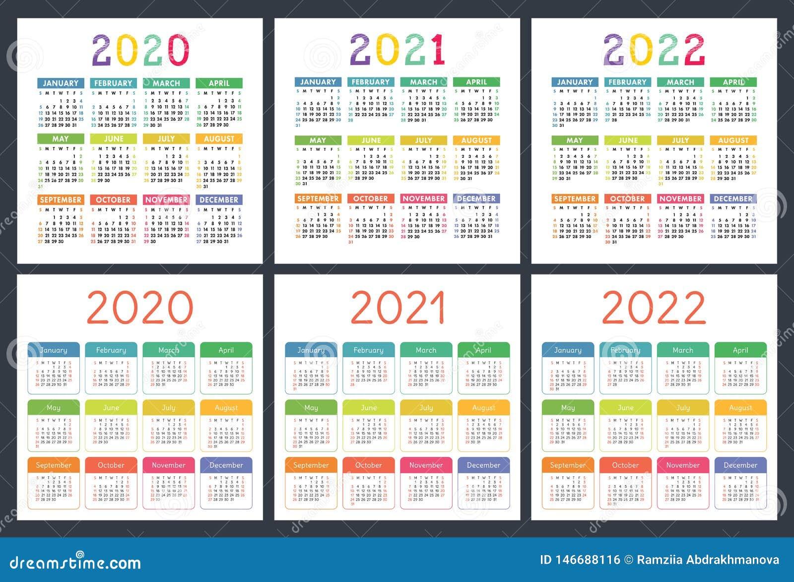 Kalendarz 2020, 2021, 2022 roku Kieszeniowa kalendarzowa du?a kolekcja Kolorowy set Na Niedziela tydzie? pocz?tek Podstawowa siat