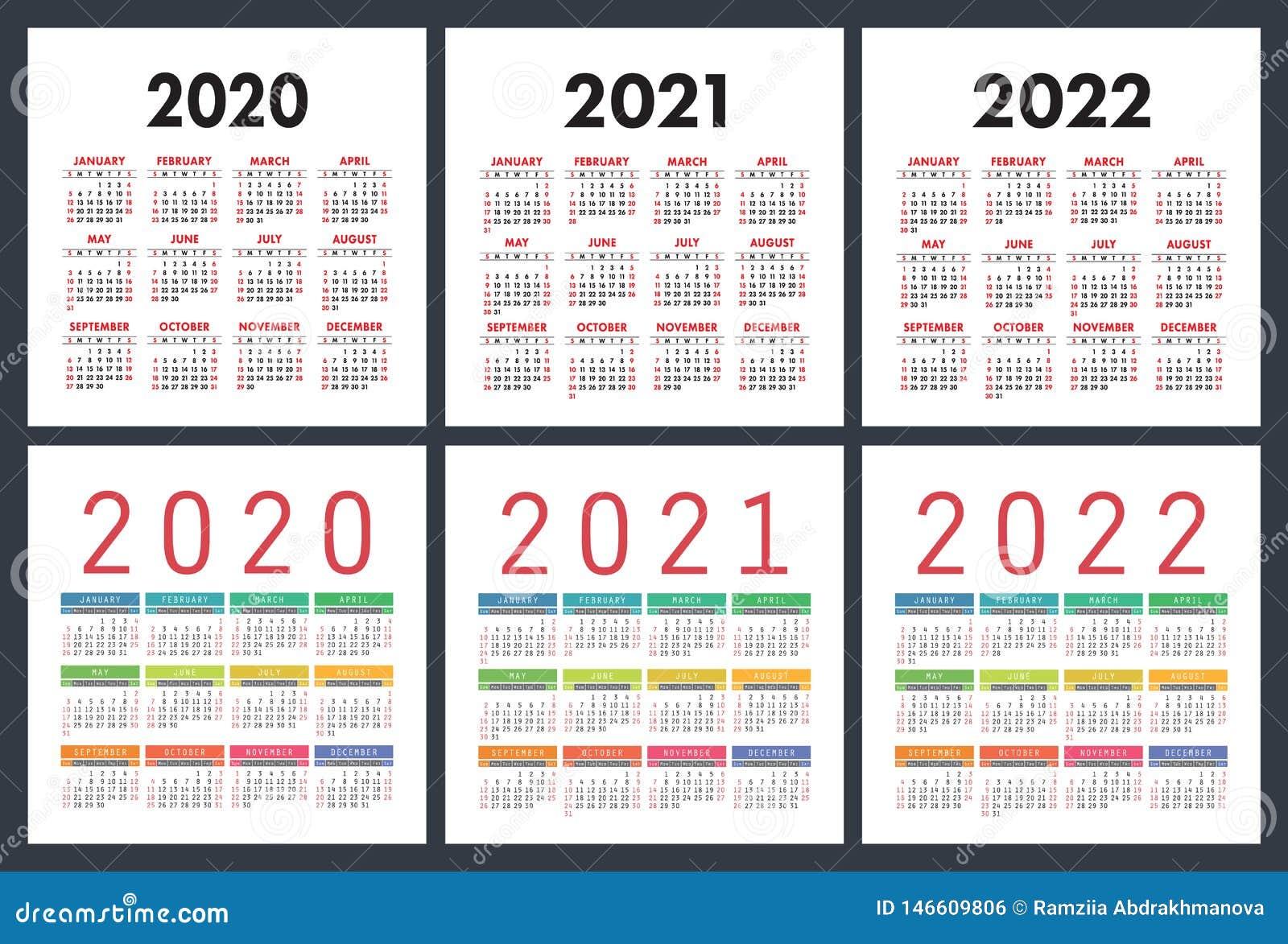 Kalendarz 2020, 2021, 2022 roku Kolorowy set Kieszeniowy kalendarz Na Niedziela tydzie? pocz?tek Podstawowa siatka