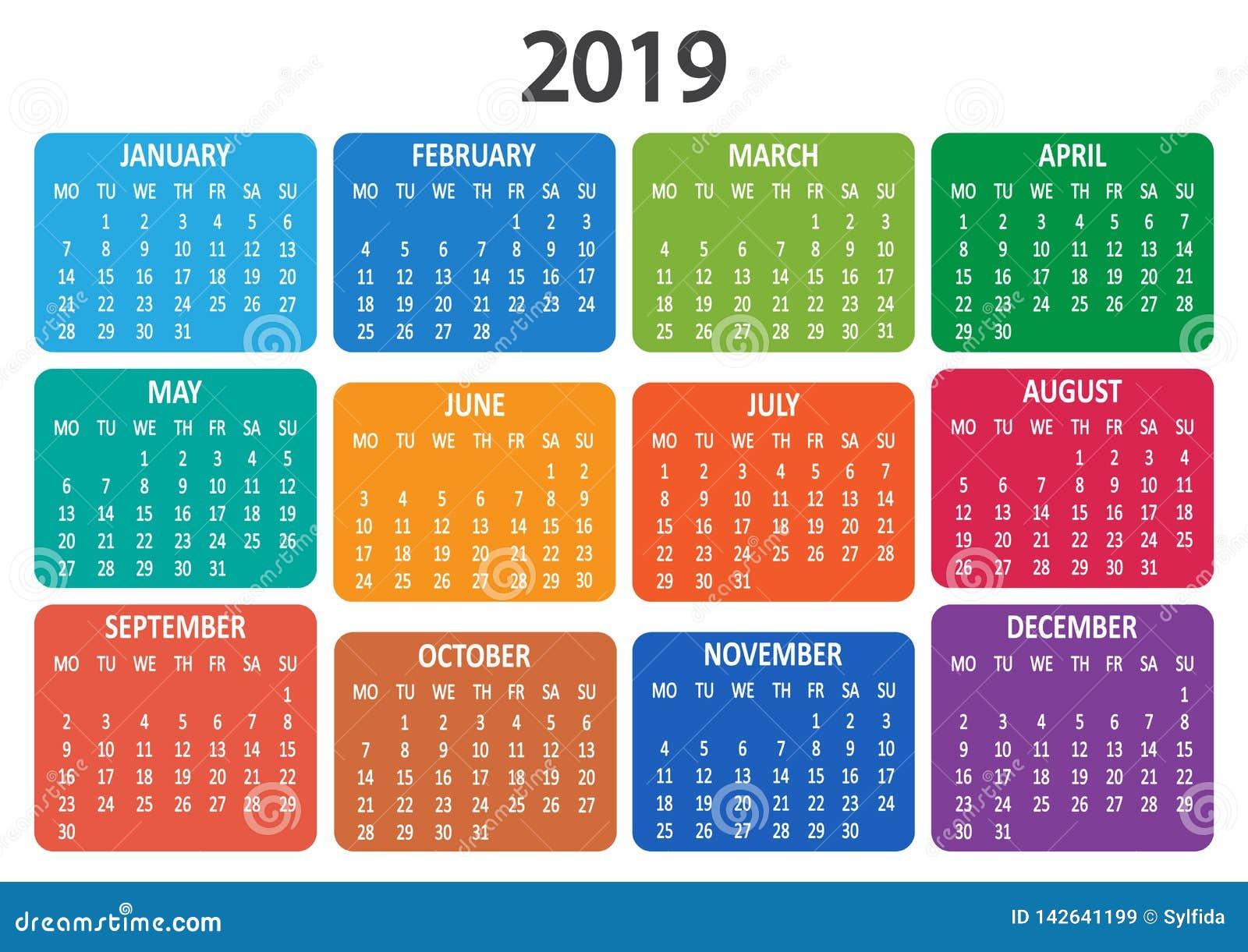 Kalendarz 2019 Tydzień zaczyna od Poniedziałku również zwrócić corel ilustracji wektora
